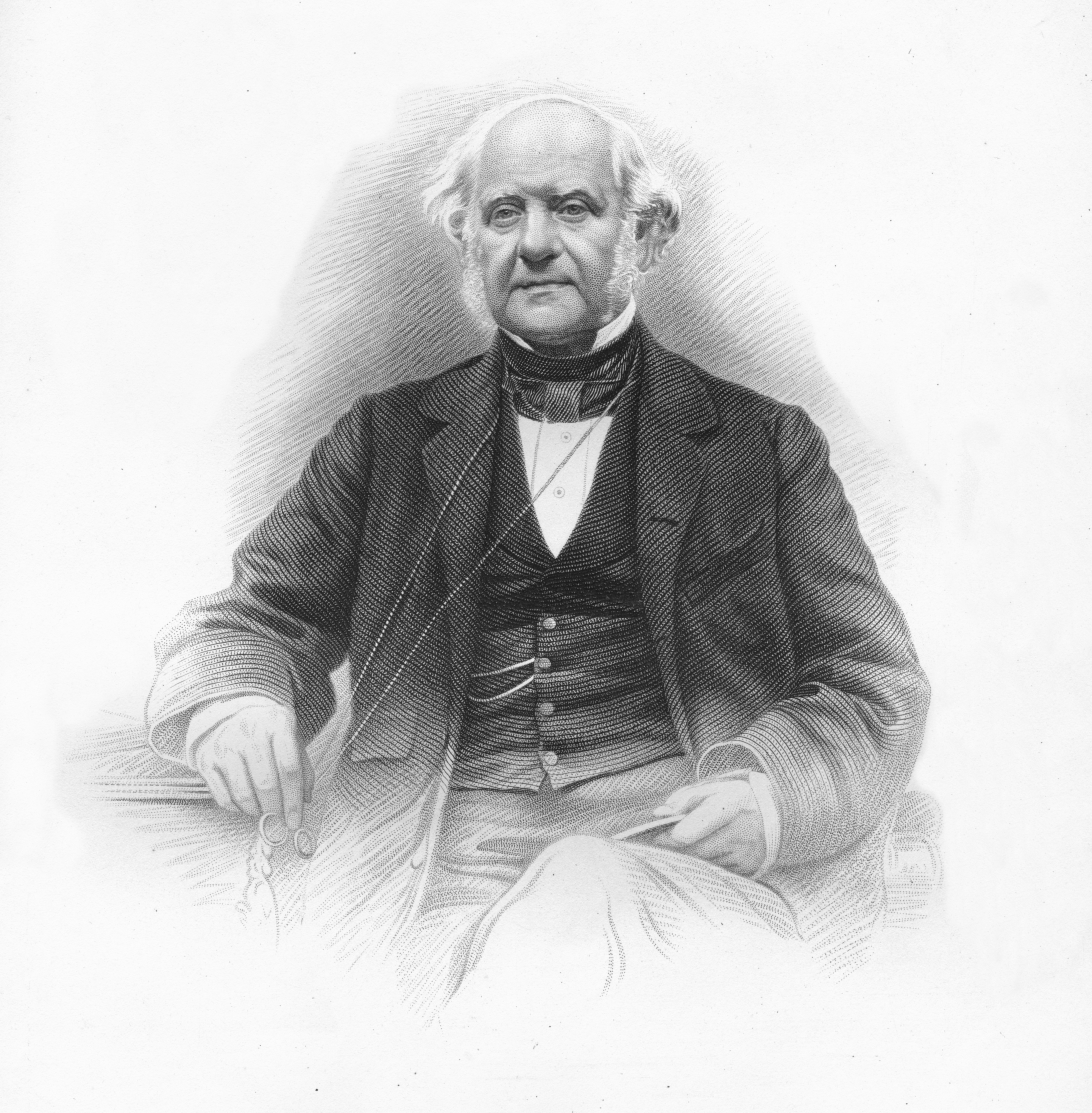 A black and white image of George Peabody, 1859