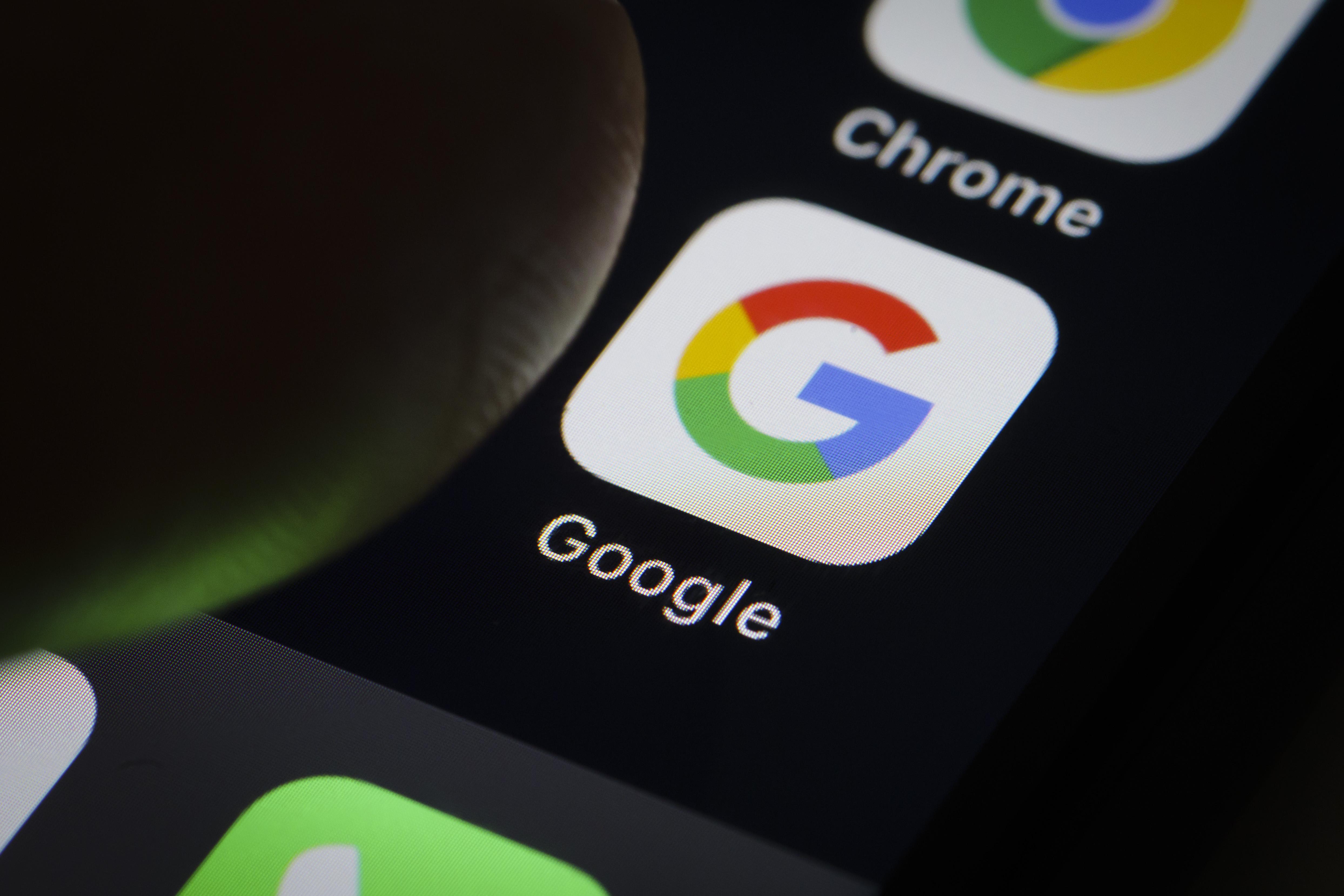 Google app seen on smartphone screen