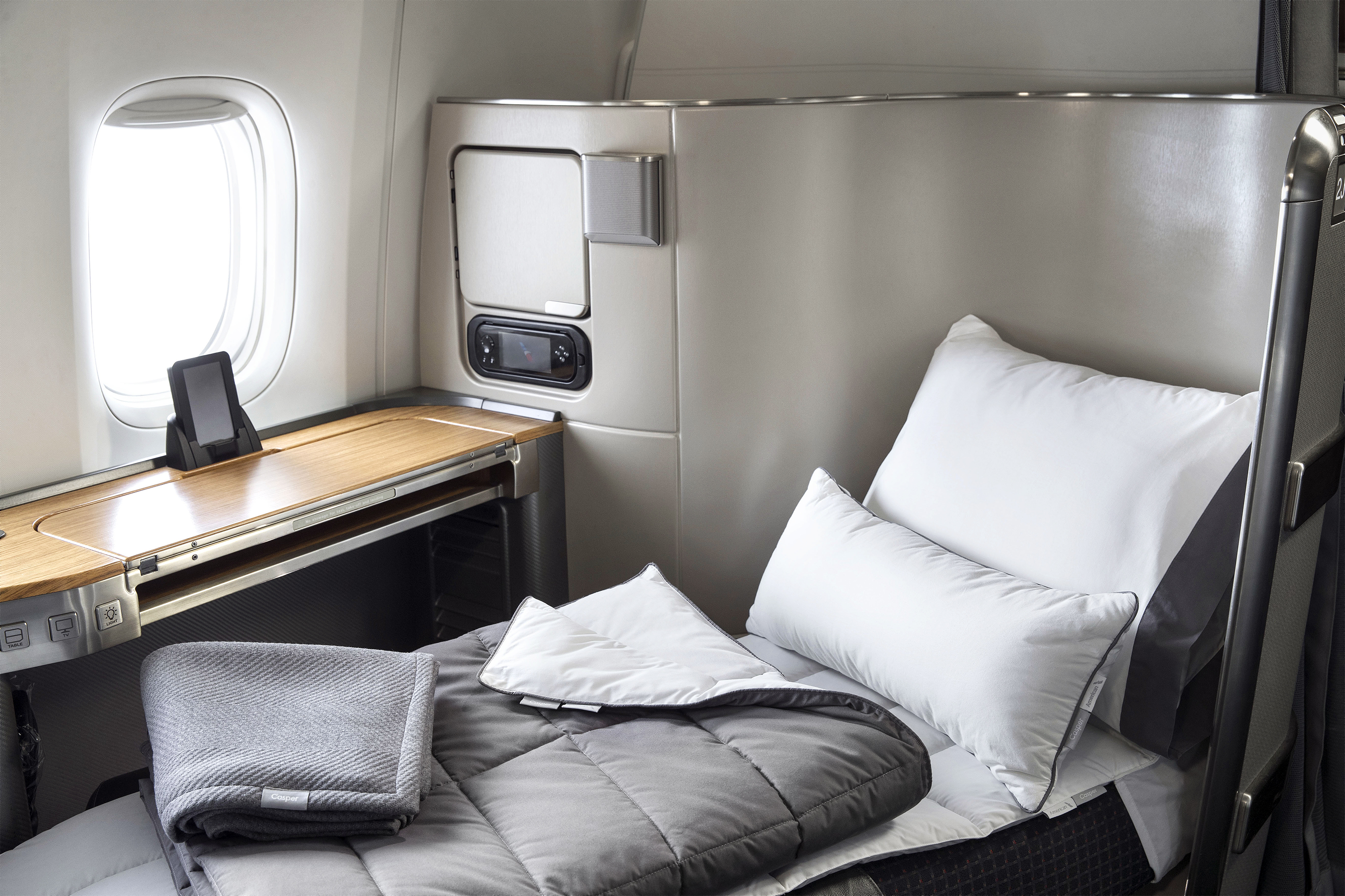 Casper bedding is provided to passengers in premium cabins on American Airlines.