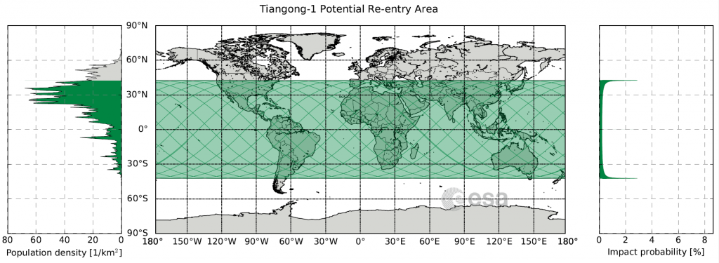 Tiangon 1 Re-entry map
