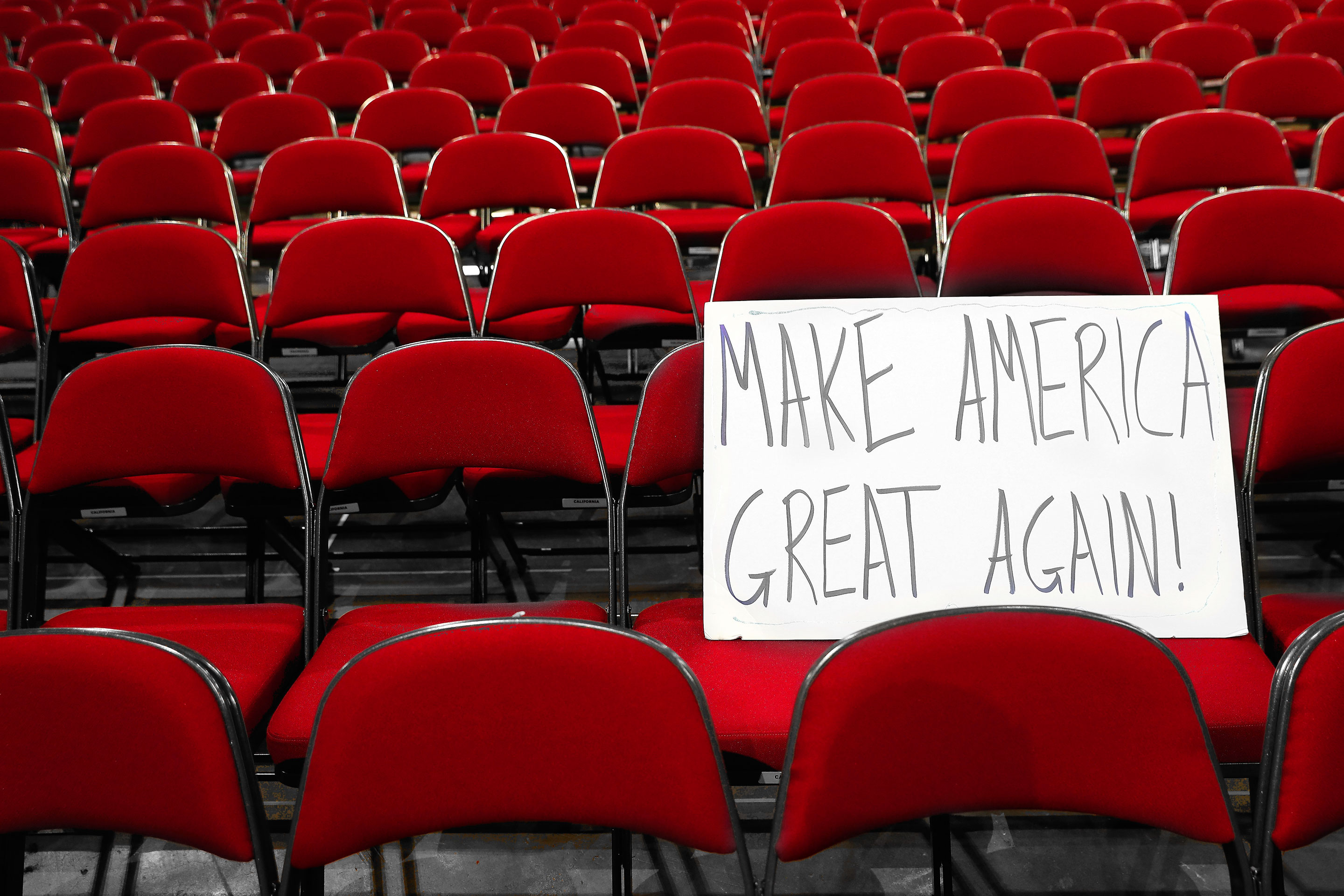 A sign at the Republican National Convention on July 20, 2016.