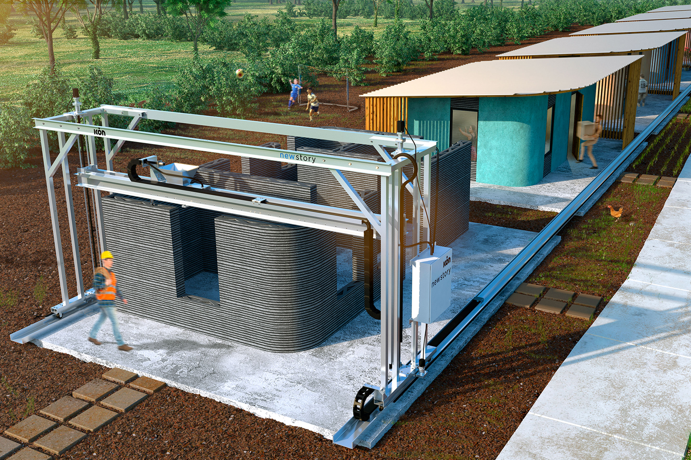 Rendering of how Icon's Vulcan 3-D printing maching can generate entire homes in under 48-hours.