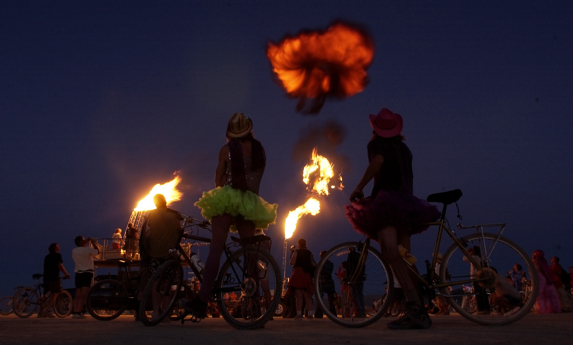 BURNING MAN -- 08/29/05 -- BLACK ROCK DESERT, NV -- A giant, and loud, fireball erupts from a canon