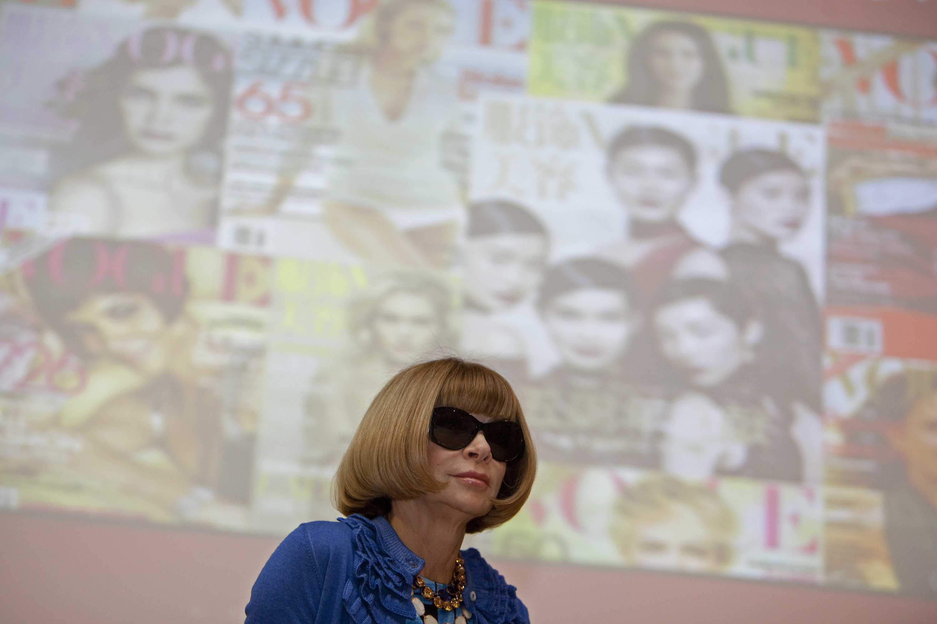 Vogue Magazine Editor-In-Chief Anna Wintour on stage