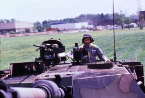 Michael S. Dukakis in a tank