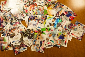 a pile of baseball cards