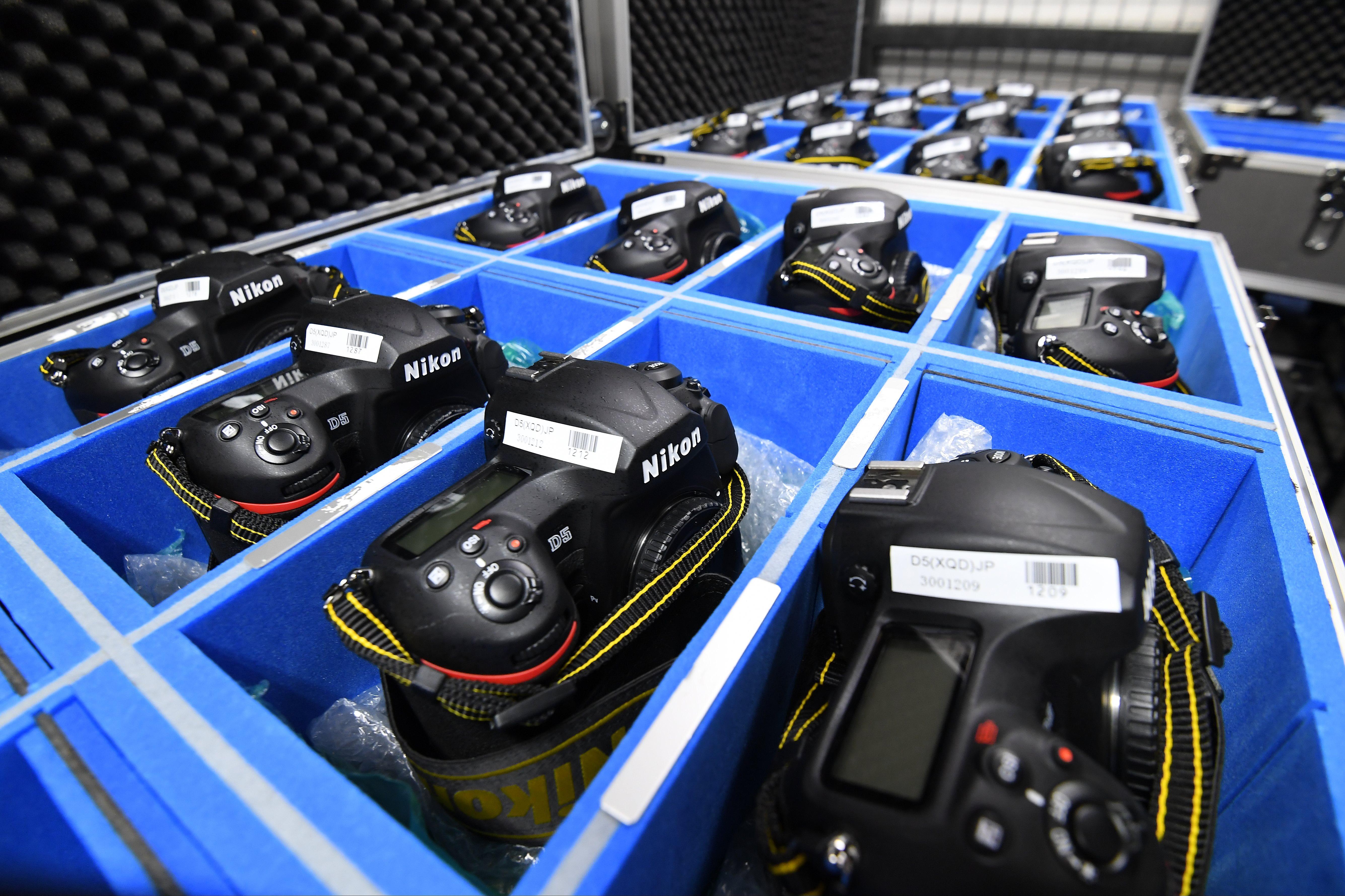 Boxes of Nikon cameras at the Rio Olympic games