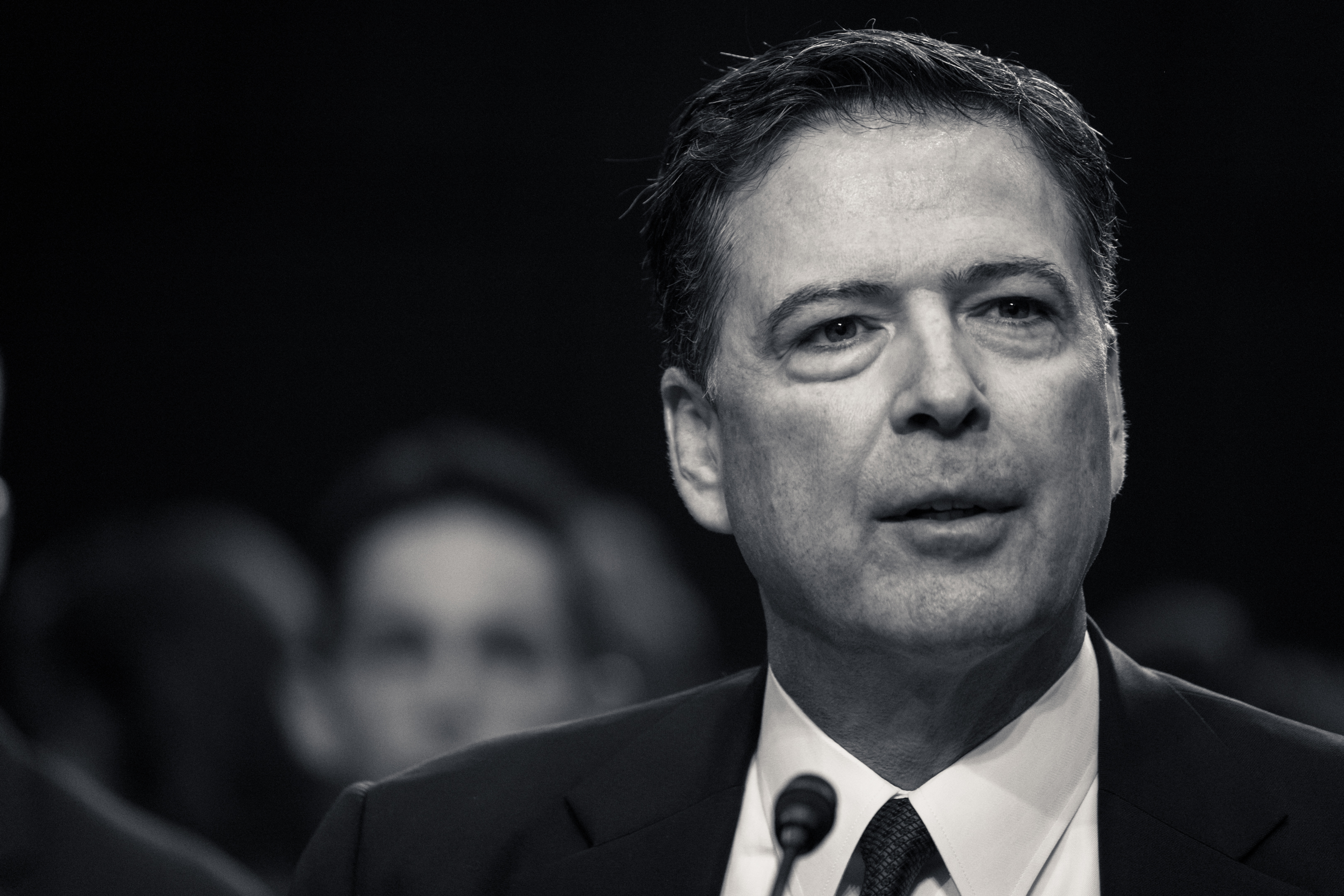 James Comey testifies before Senate in this black and white photograph