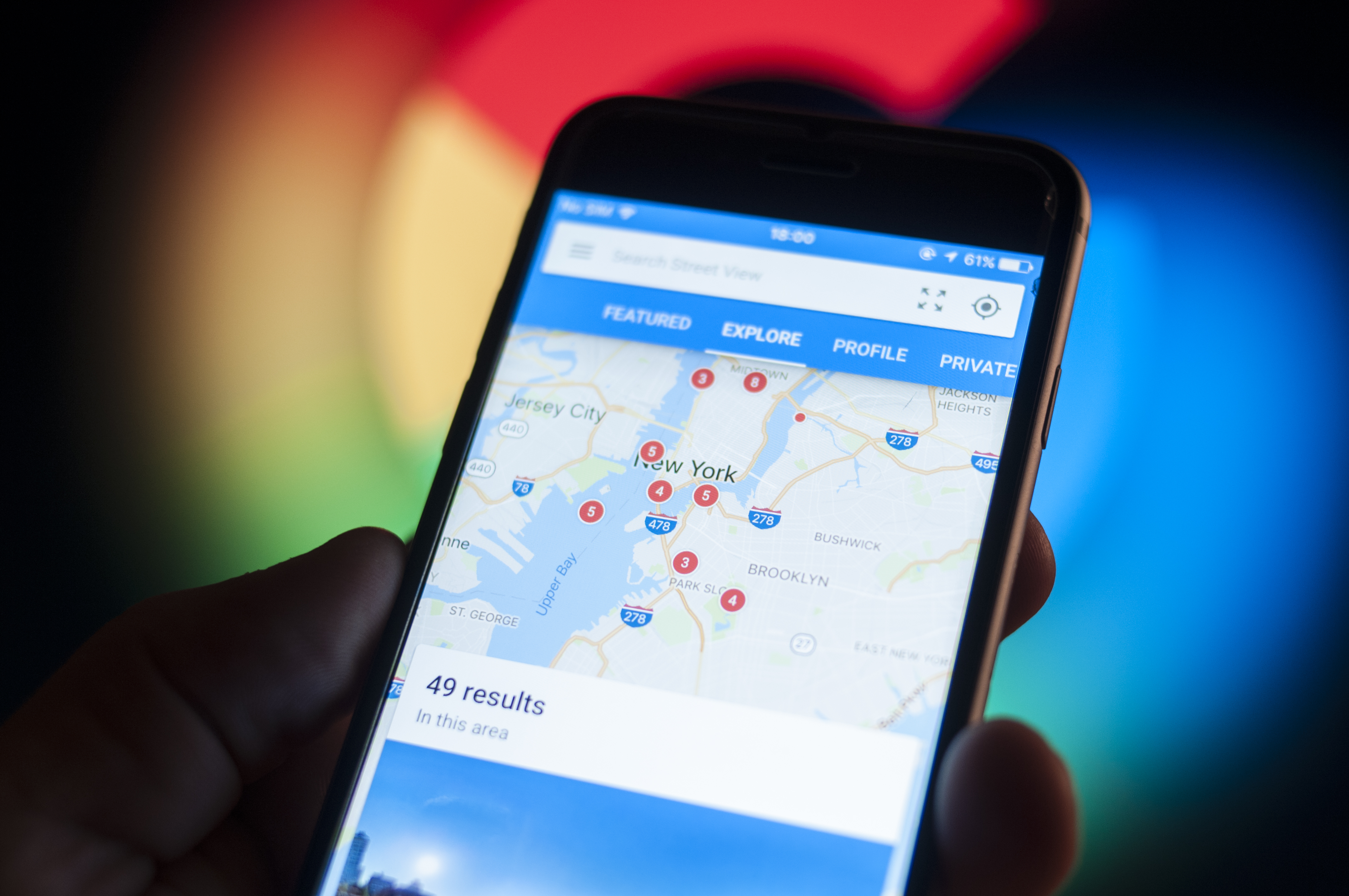 Google maps appears on iPhone screen