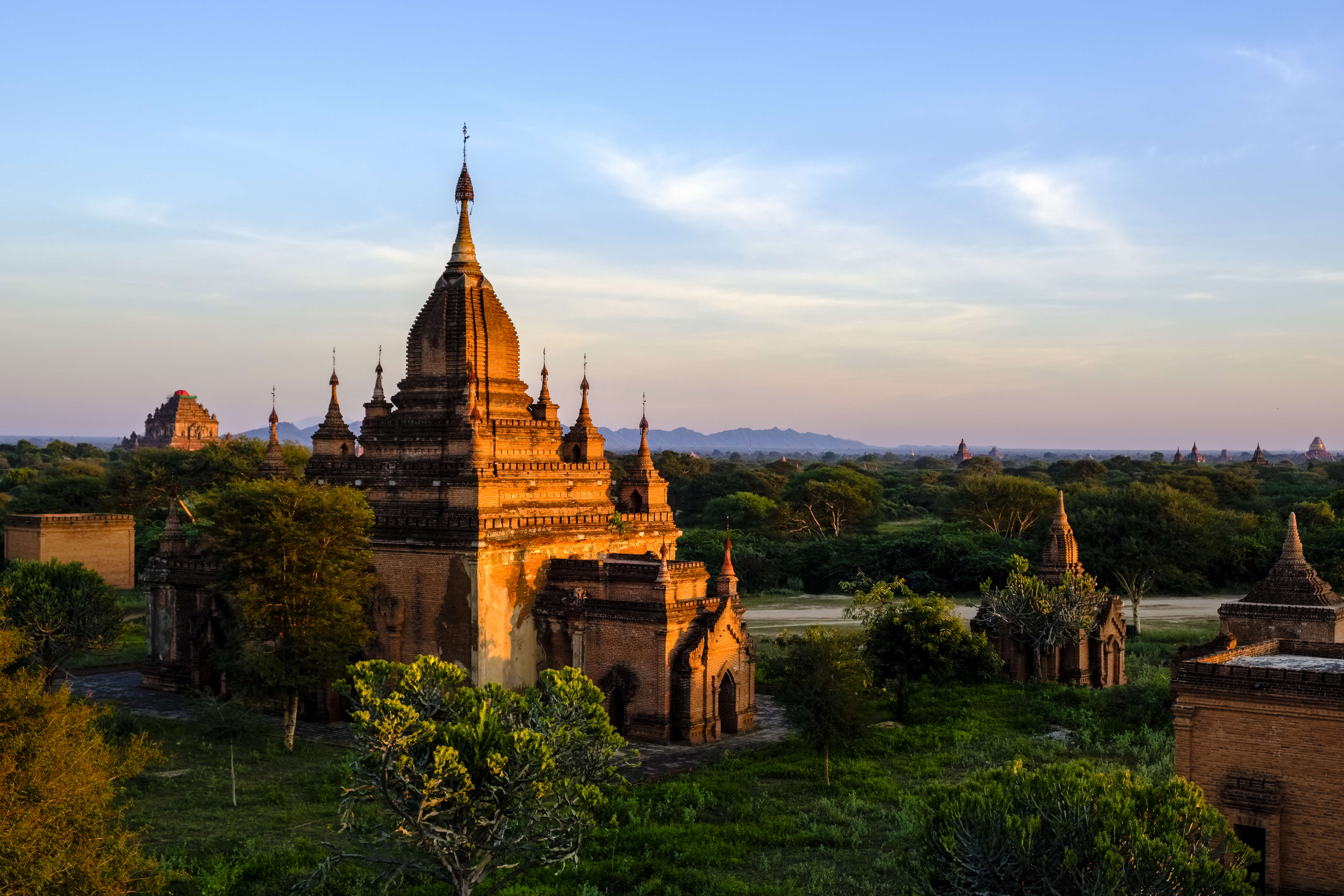 Pagodas of Bagan in the plains of the archaeological site at