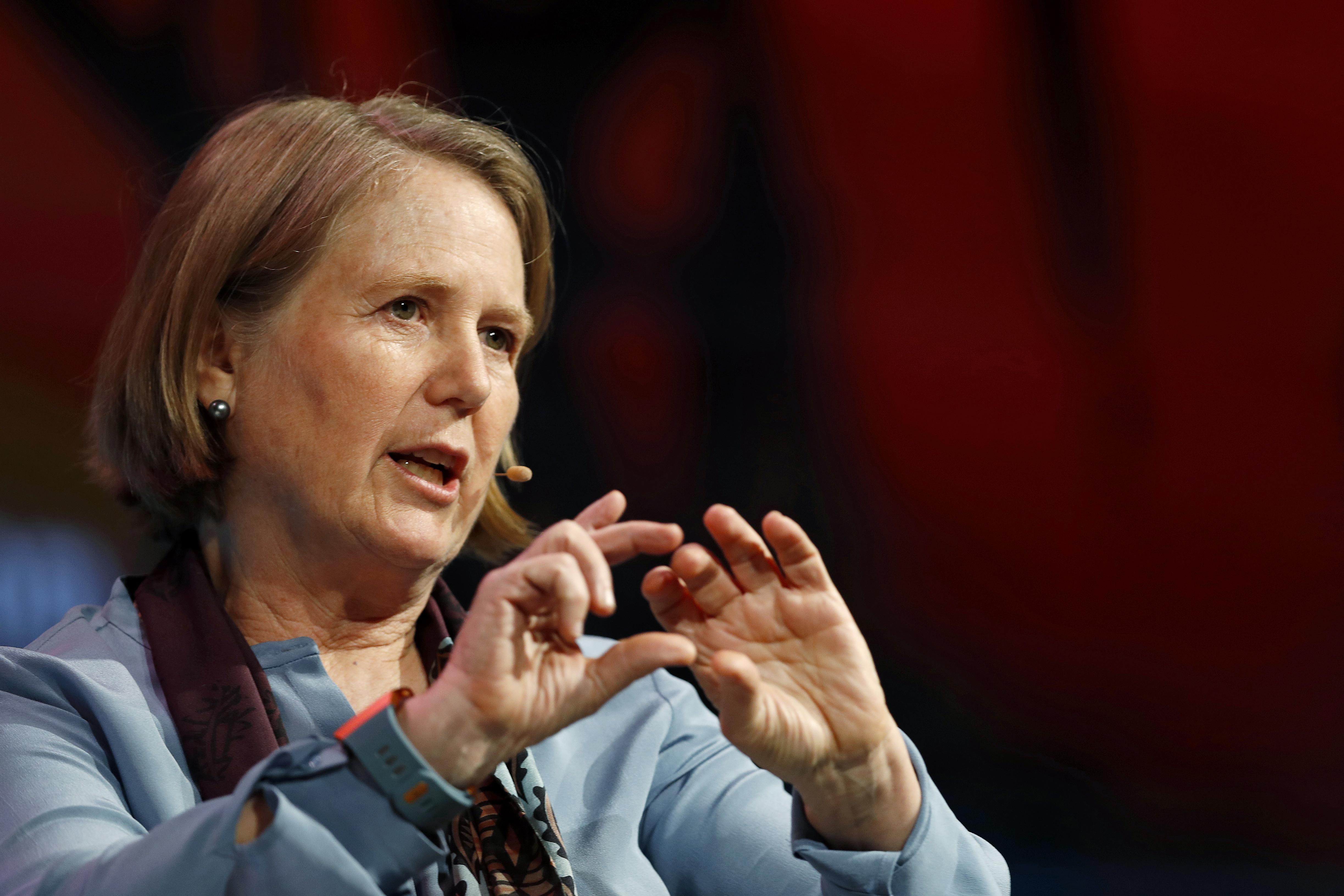 Diane Green, cloud chief at Google, gestures onstage