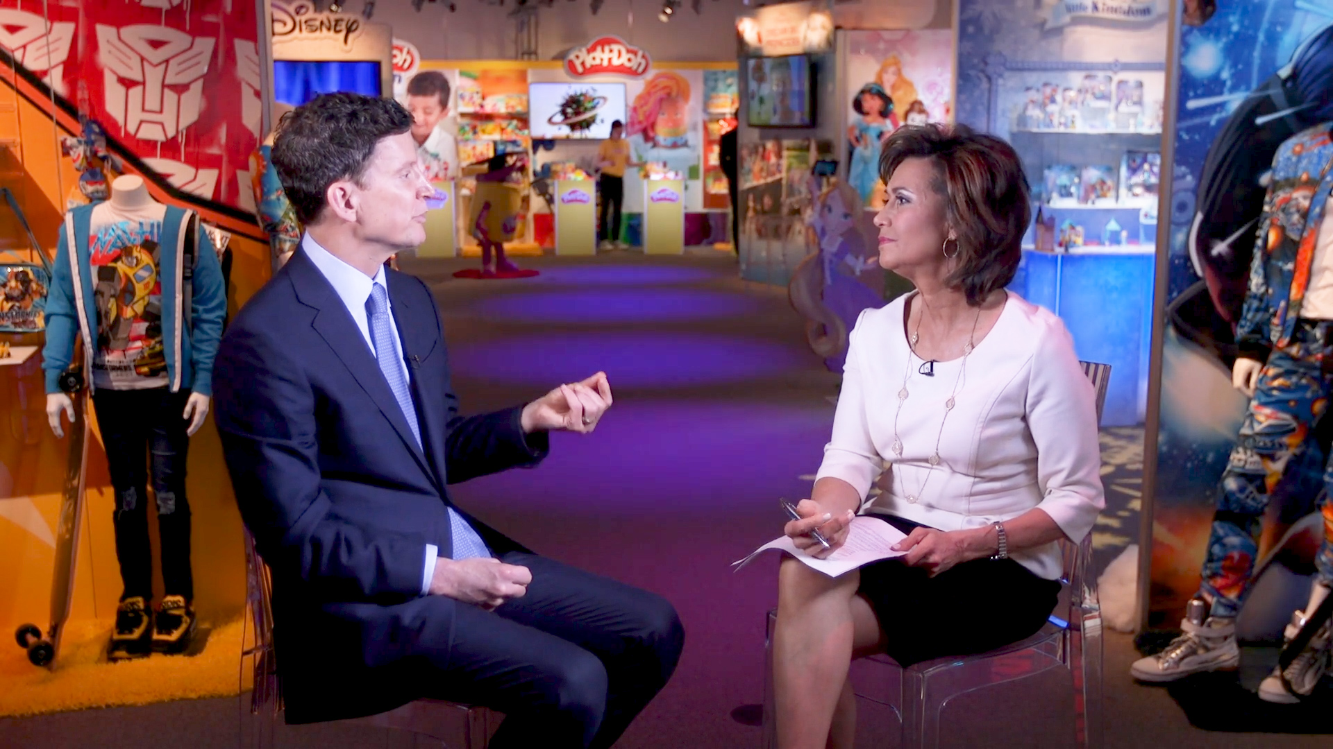 Susie Gharib interviews Hasbro CEO Brian Goldner at the 2018 Toy Fair in New York.