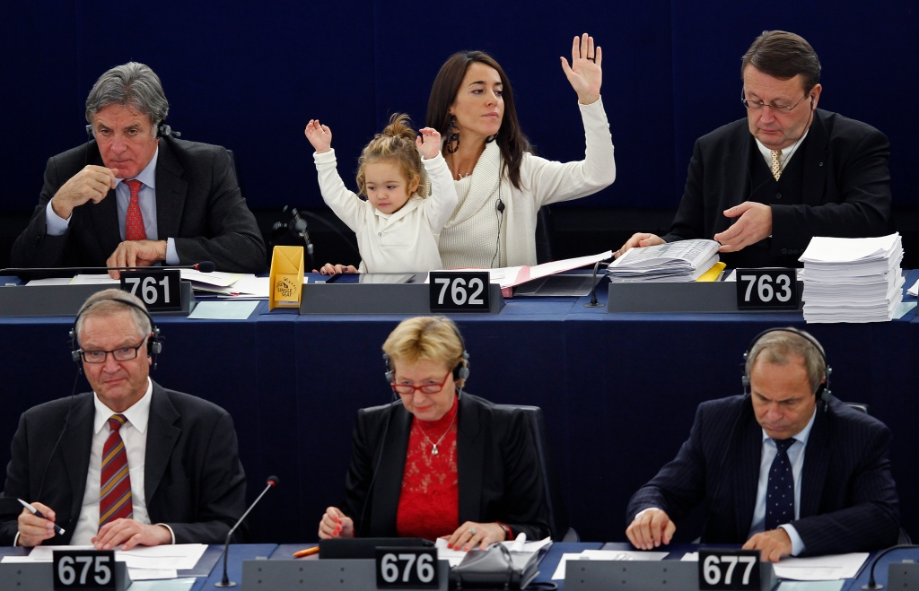 Italy's Member of the European Parliament Ronzulli takes part with her daughter Victoria in a voting session at the European Parliament in Strasbourg