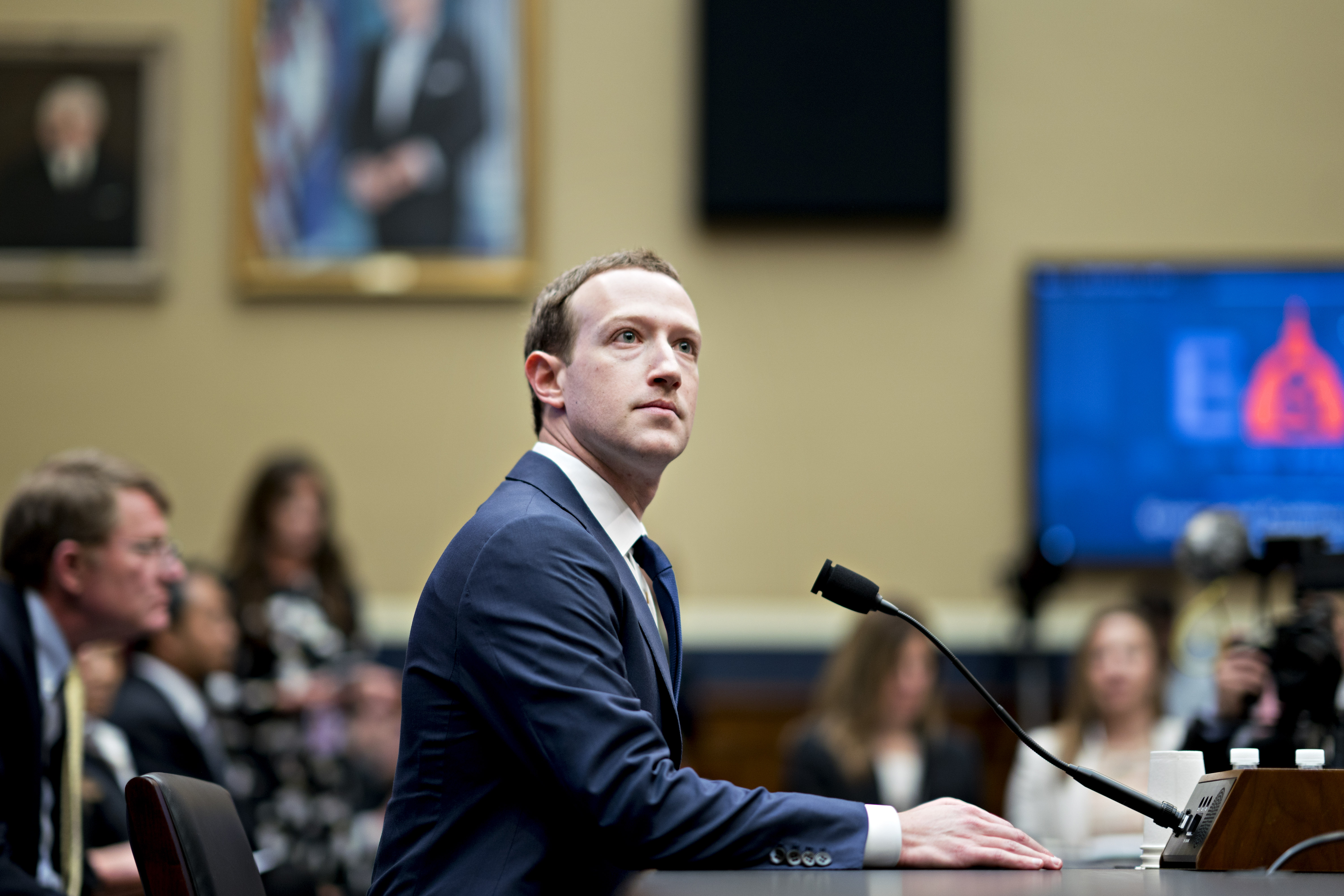 Facebook CEO Mark Zuckerberg waits to give testimony to a House Energy and Commerce Committee hearing.