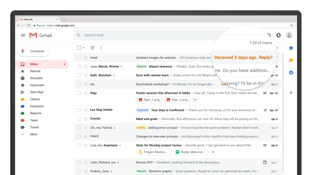 """The """"nudging"""" feature on the redesigned Gmail."""