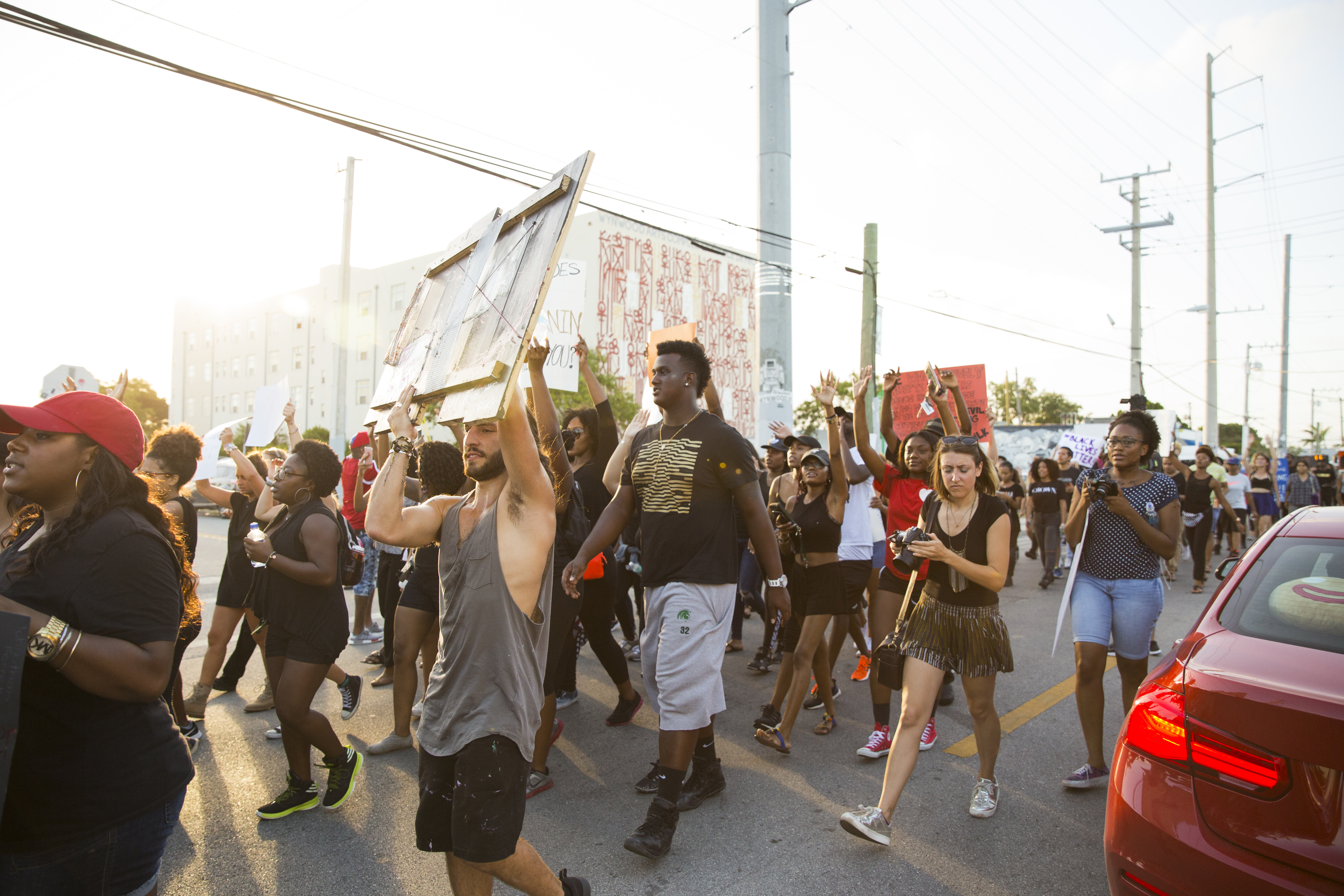 Protesters at a Black Lives Matter event in Miami.