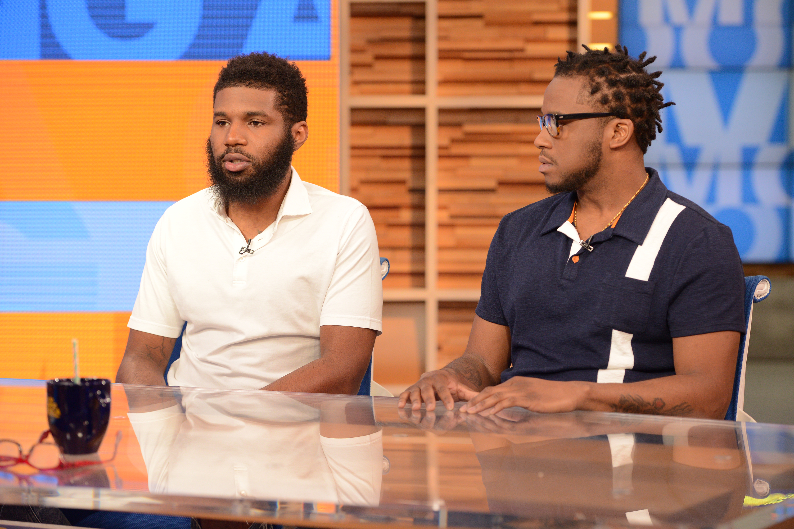 """Rashon Nelson and Donte Robinson, the two men arrested at a Starbucks in Philadelphia, tell their story on """"Good Morning America"""" on ABC."""