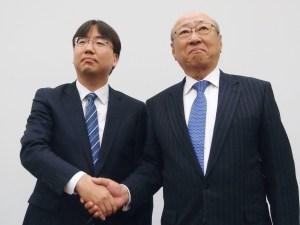 New Nintendo President Shuntaro Furukawa shakes hand with Tatsui Kimishima