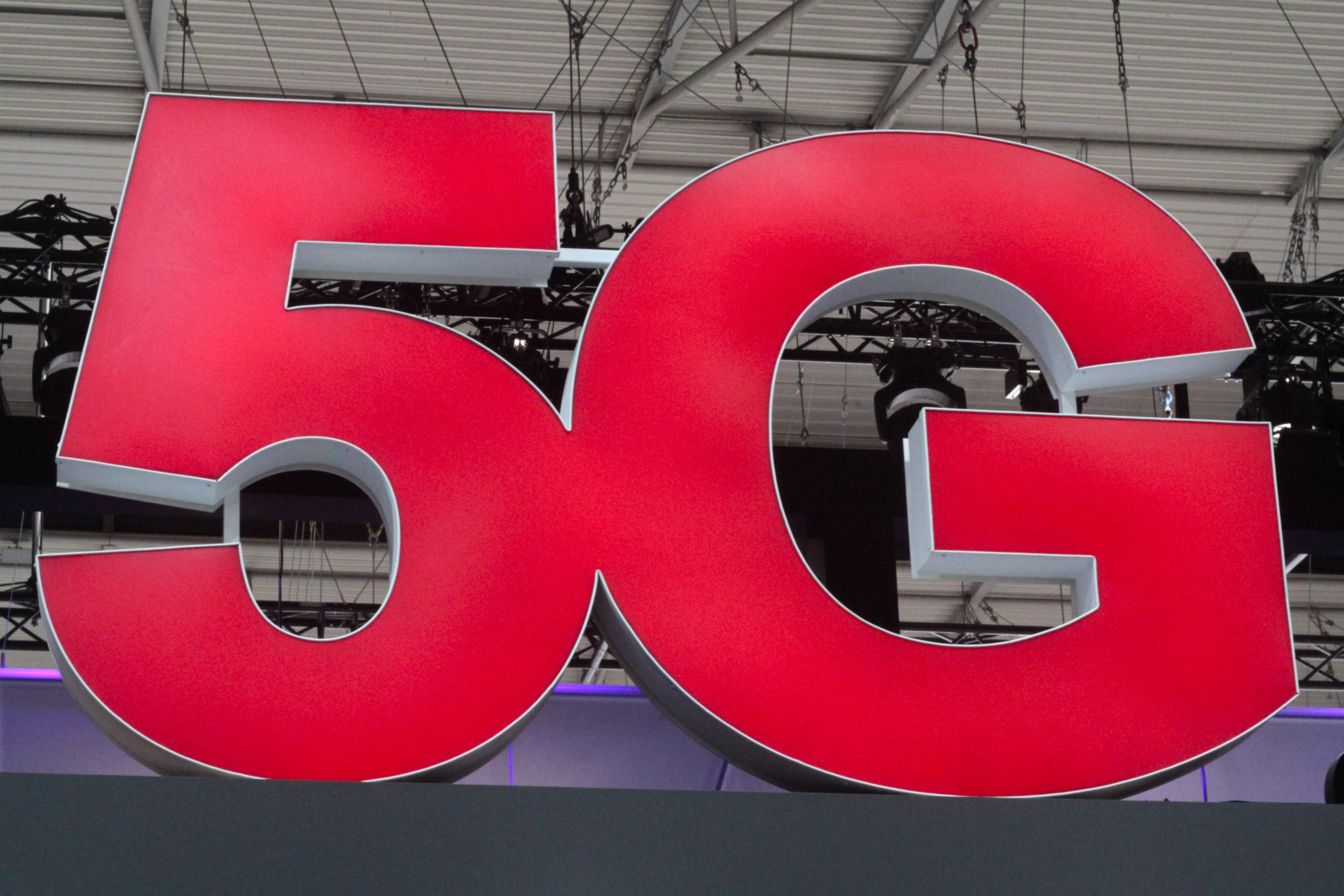 5G sign at the Mobile World Congress in Barcelona.