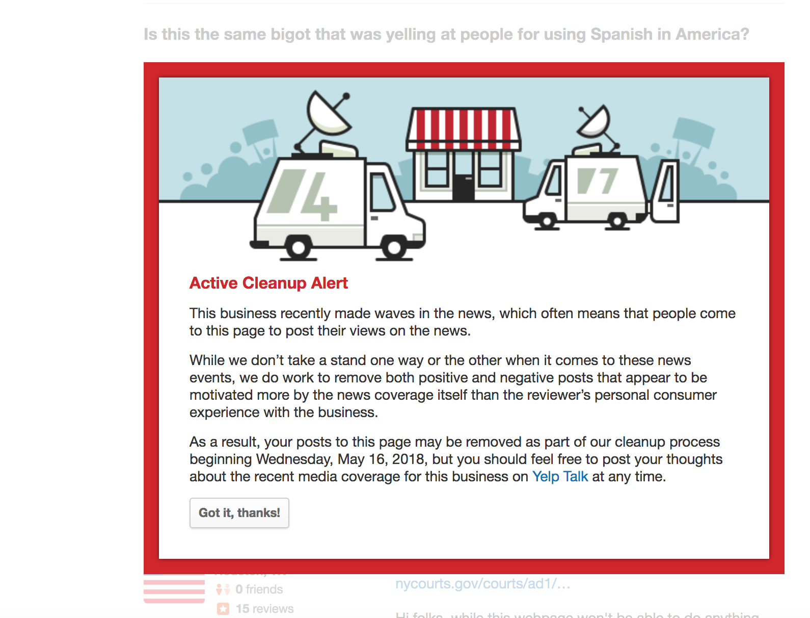 """Active Cleanup Alert"" text box from Yelp"