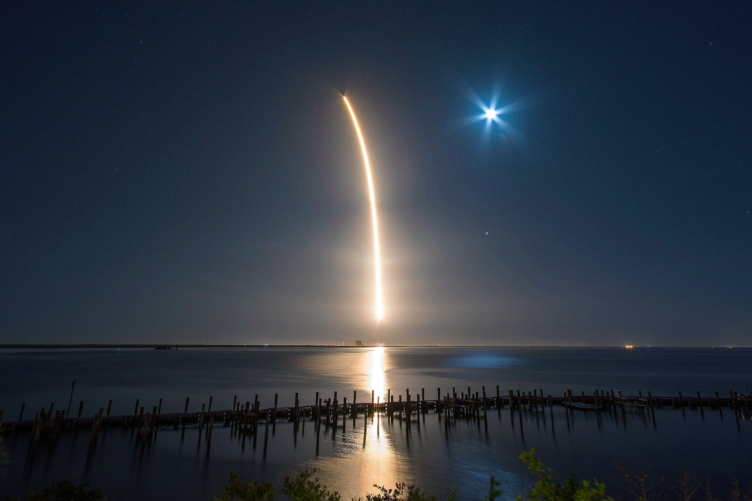A SpaceX Falcon 9 rocket races skyward in March after its launch from Cape Canaveral, Fla.