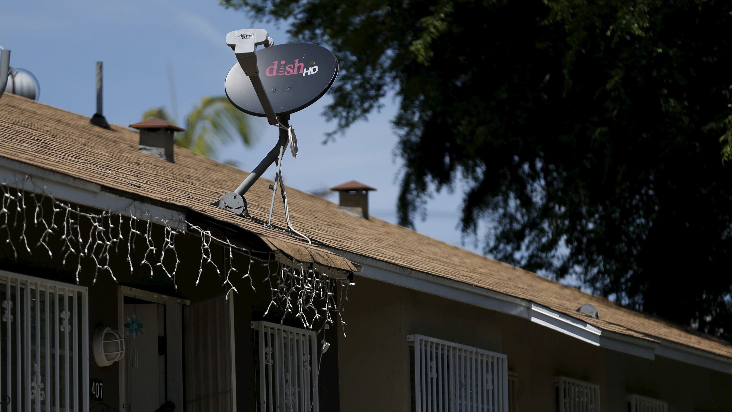 A satellite dish from Dish Network is pictured in Pasadena