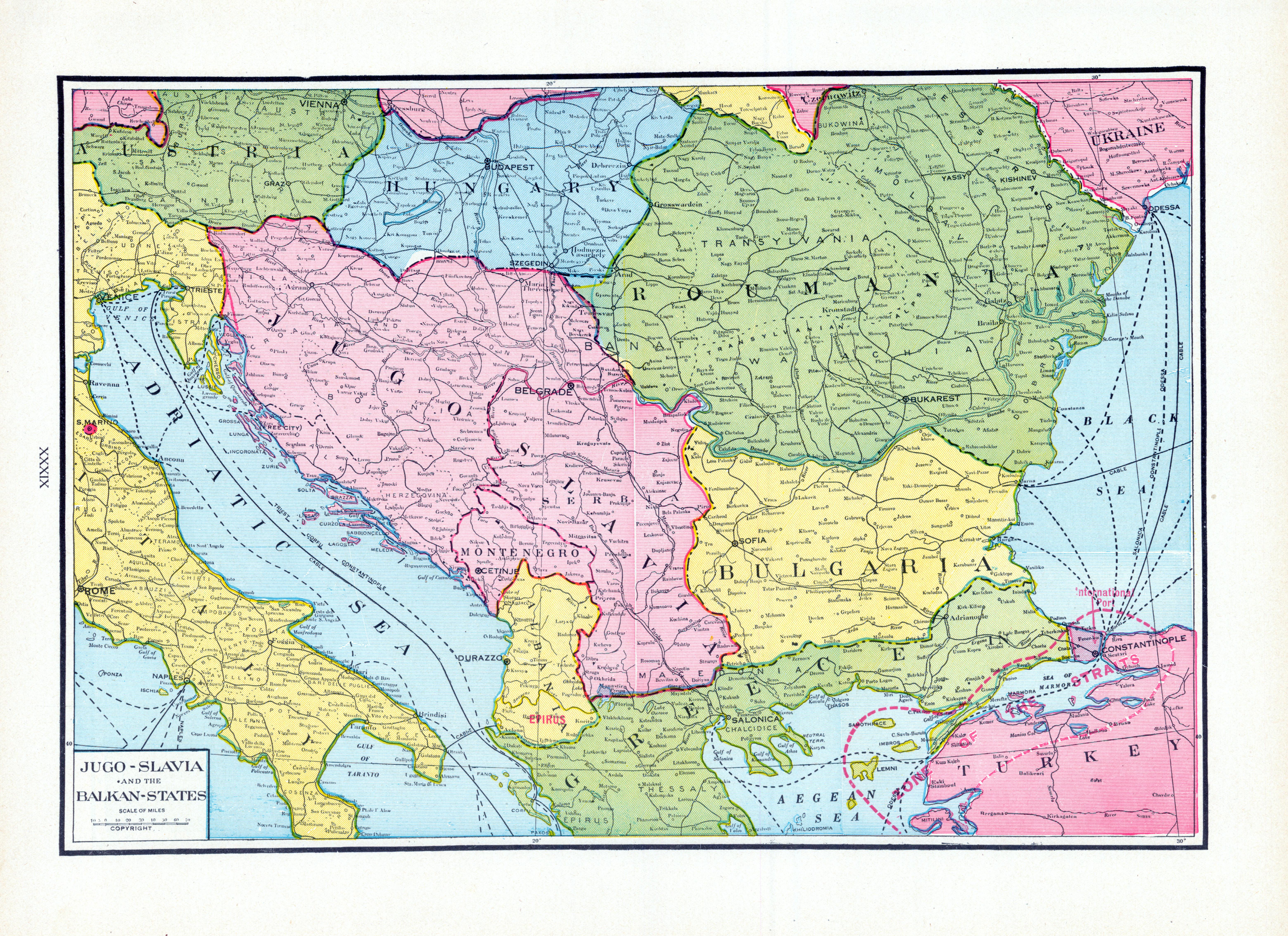 1925, Jugo-Slavia, the Balkan, States, World Atlas  from Prince Edward Island Atlas