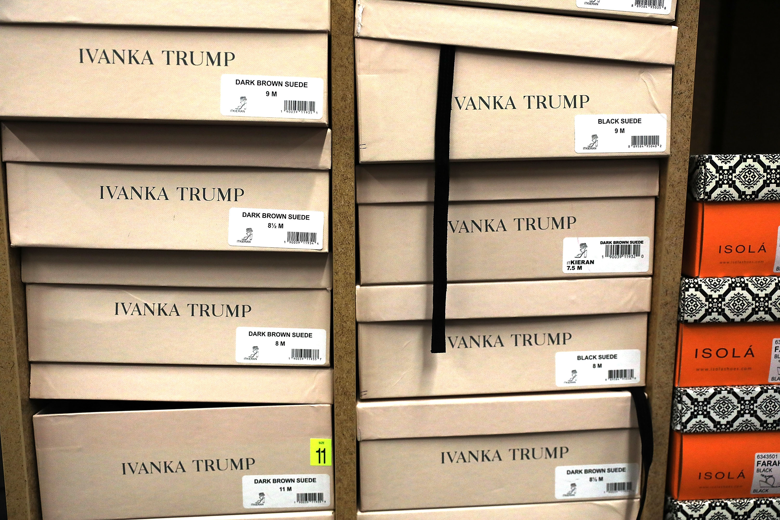 Ivanka Trump brand shoe boxes stacked in store display