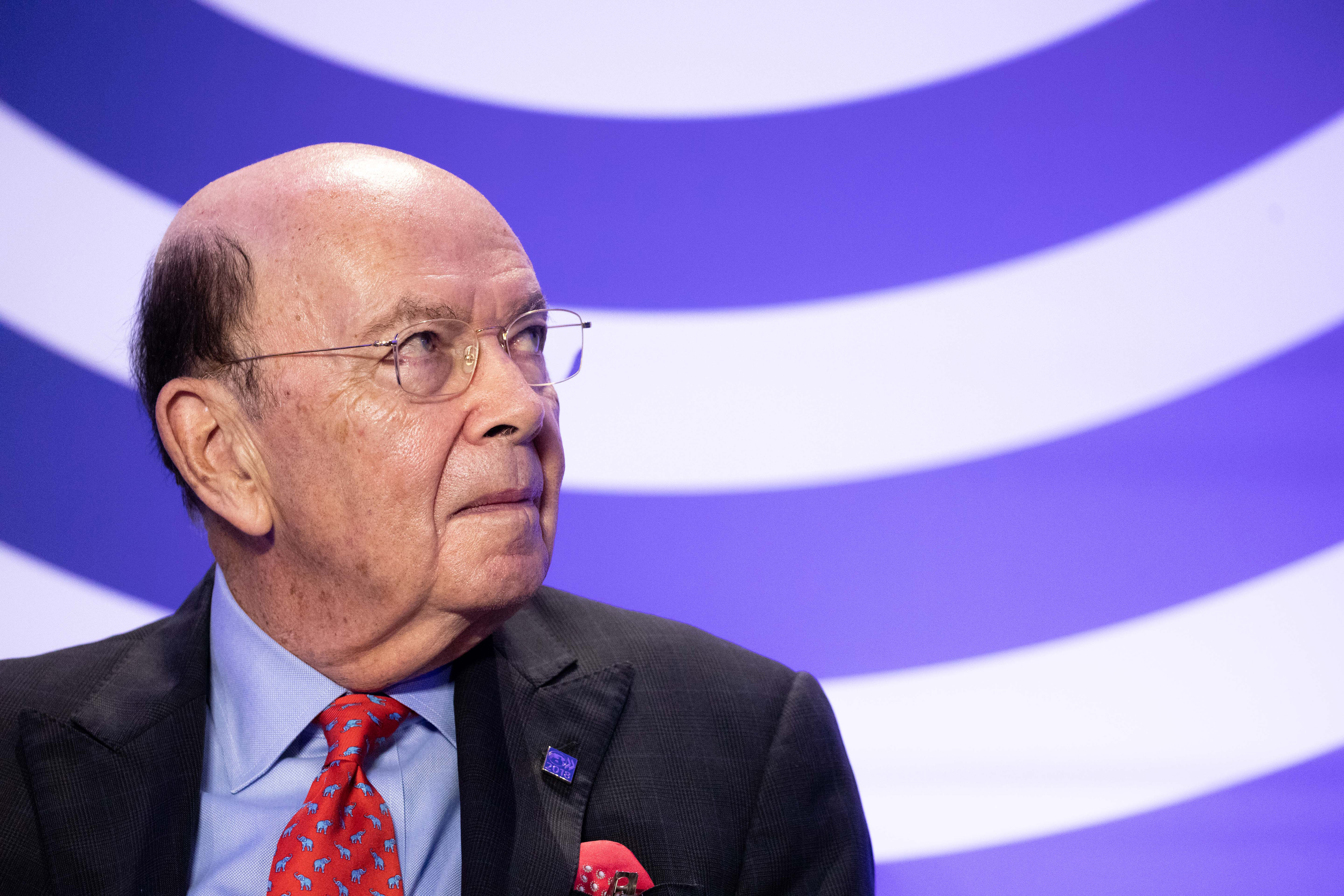 U.S. Commerce Secretary Wilbur Ross And France's President Emmanuel Macron Speak At OECD Conference
