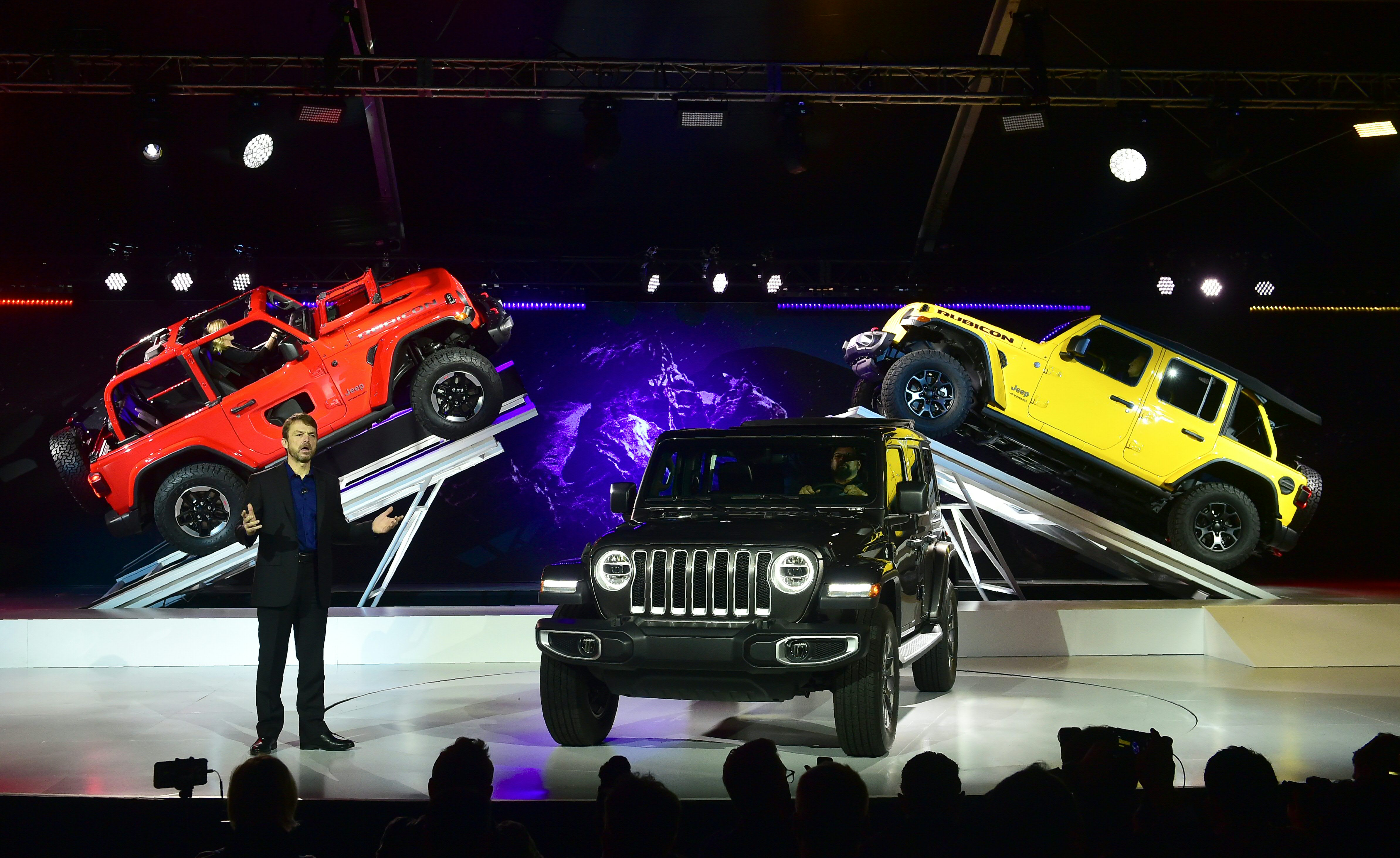 Mike Manley, Head of Jeep, speaks as the new Jeep Wranglers and Jeep Wrangler Sahara