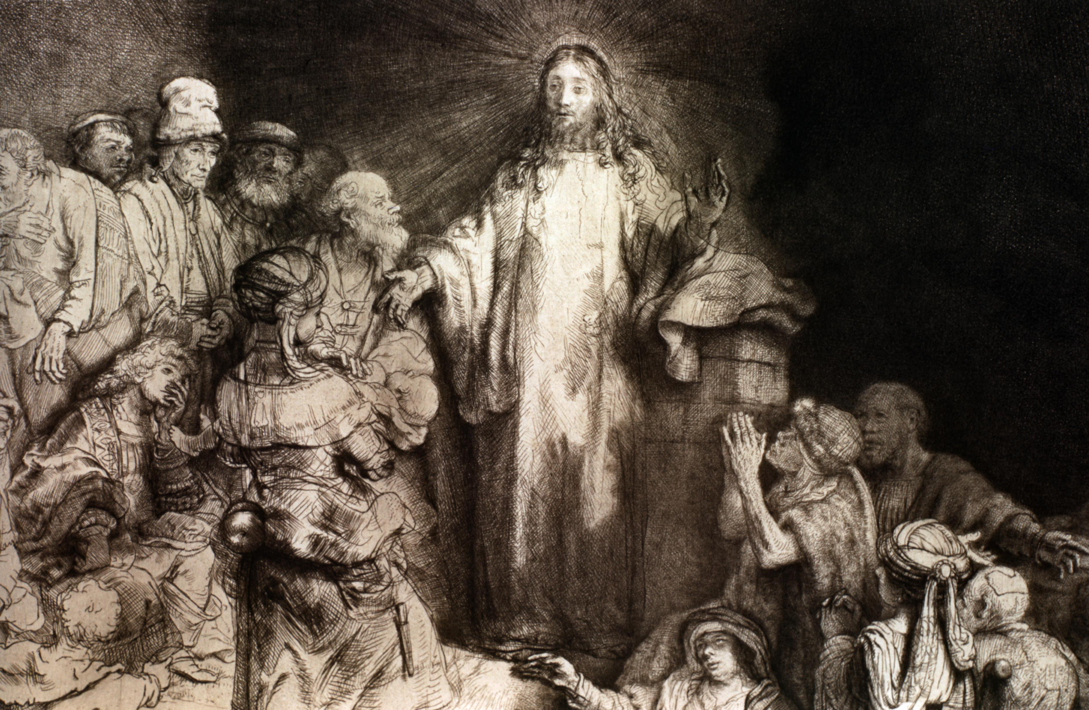 Jesus Christ heals the sick in this painting by Rembrandt Harmensz van Rijn.