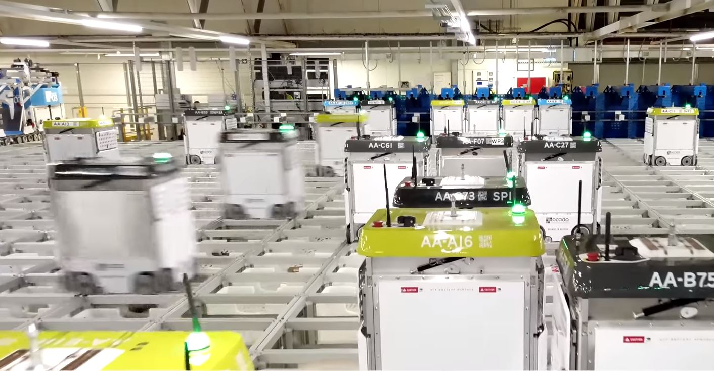 Ocado's highly-automated customer fulfilment center in Andover, England.