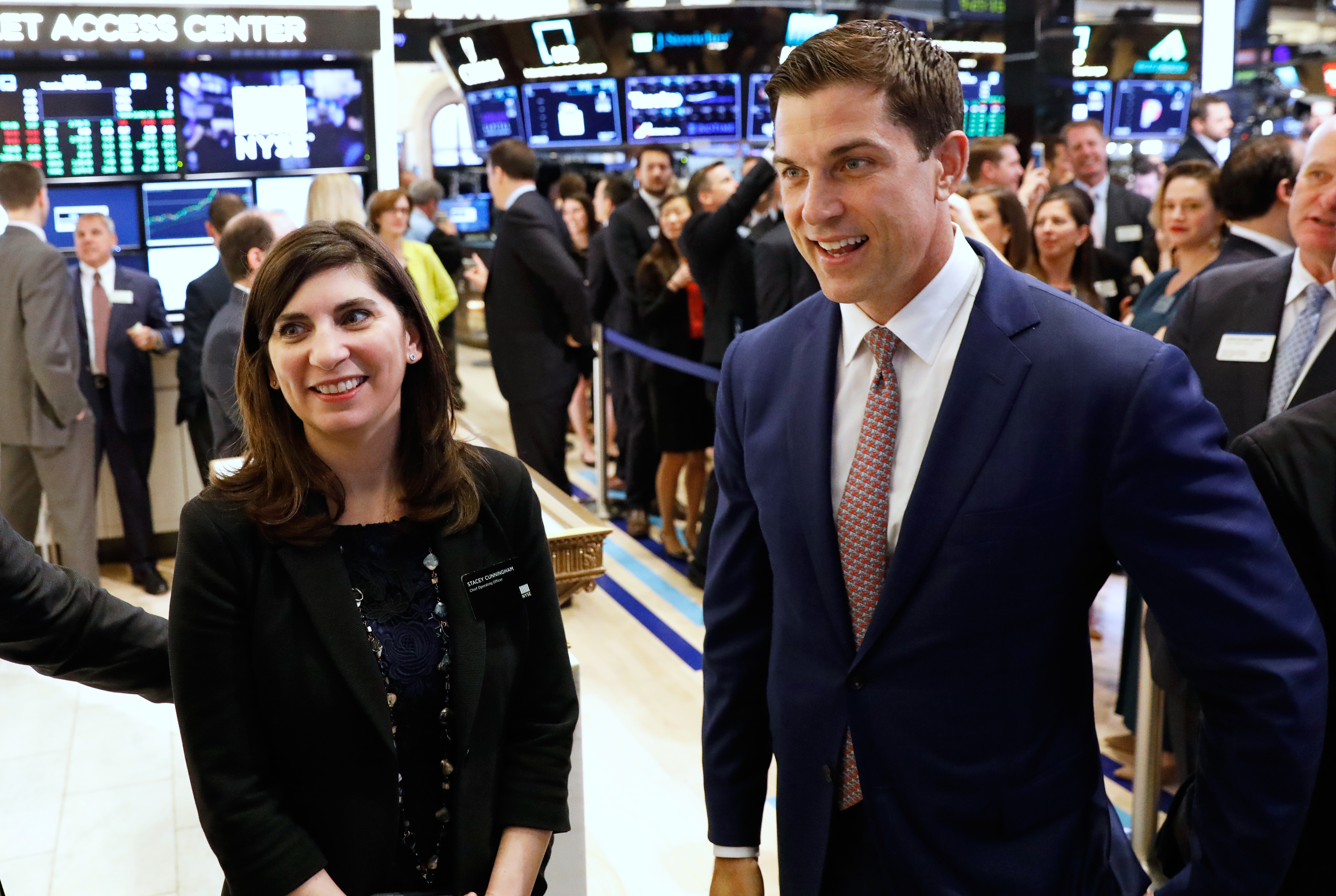 Stacey Cunningham, the one-time NYSE intern who will be the New York Stock Exchange's (NYSE) first woman president, appears at the NYSE with NYSE president Thomas W. Farley in New York