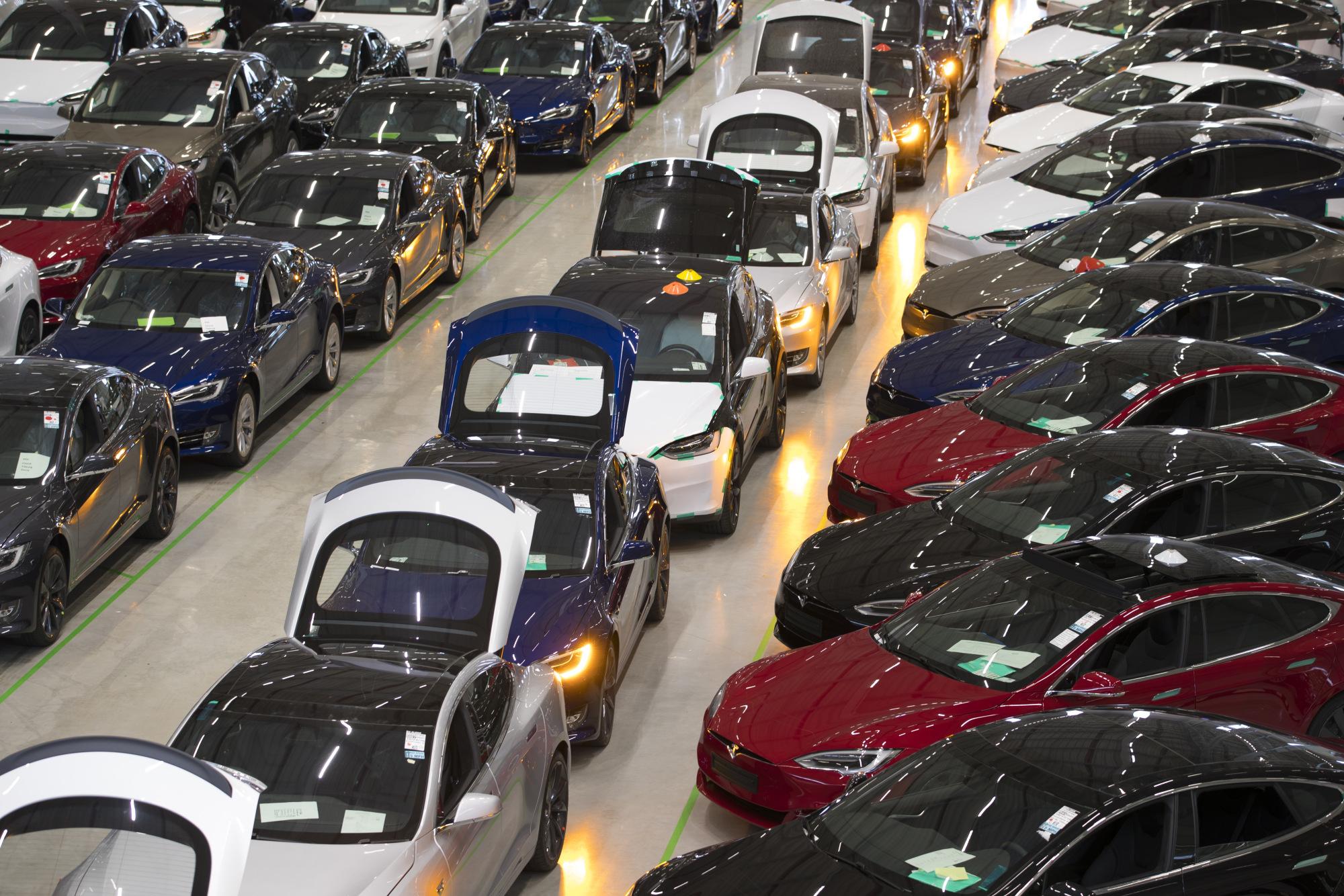 Tesla Model X SUV Assembly Inside A Tesla Motors Inc. Factory