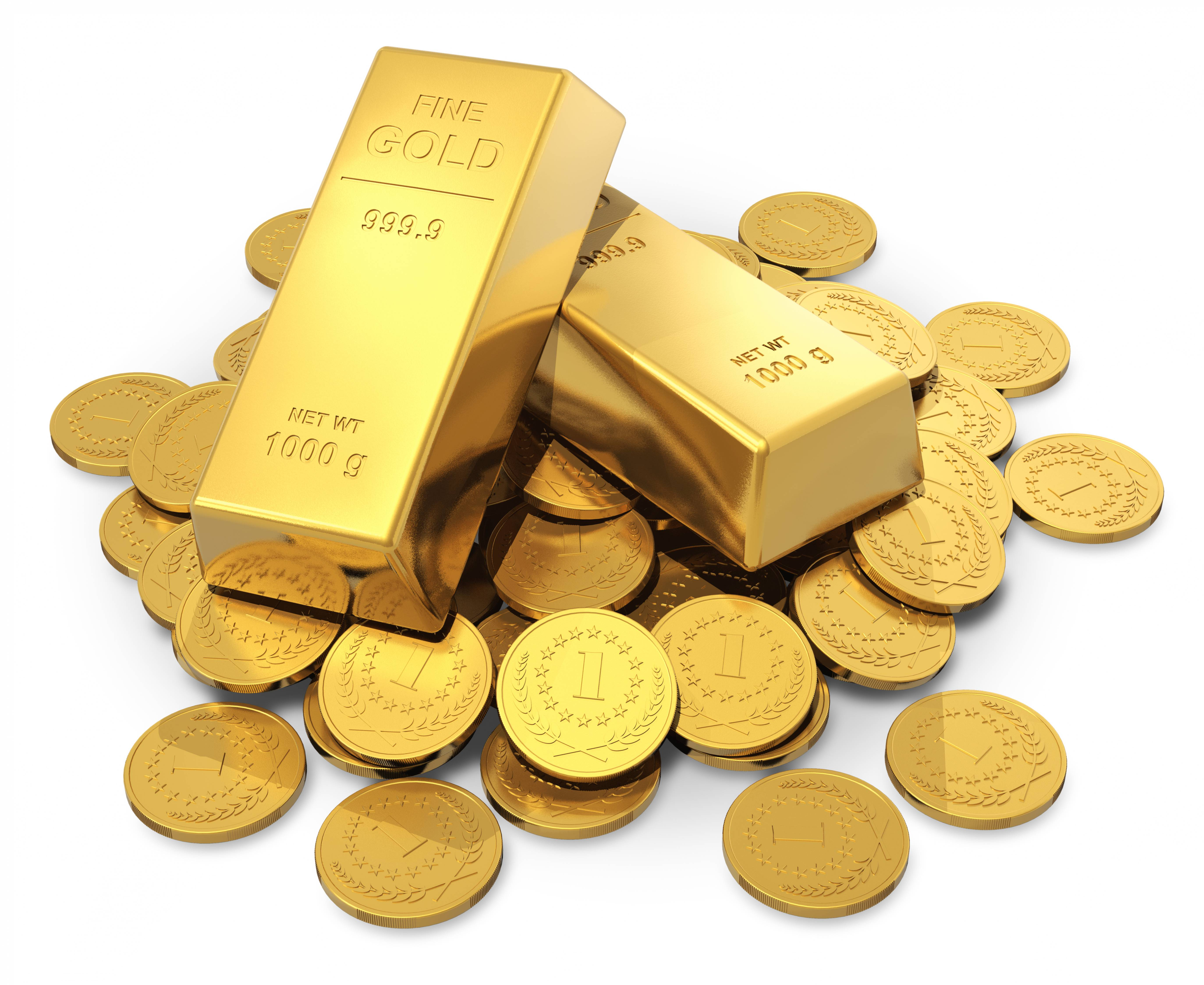 Pile of 24K gold ingots and coins