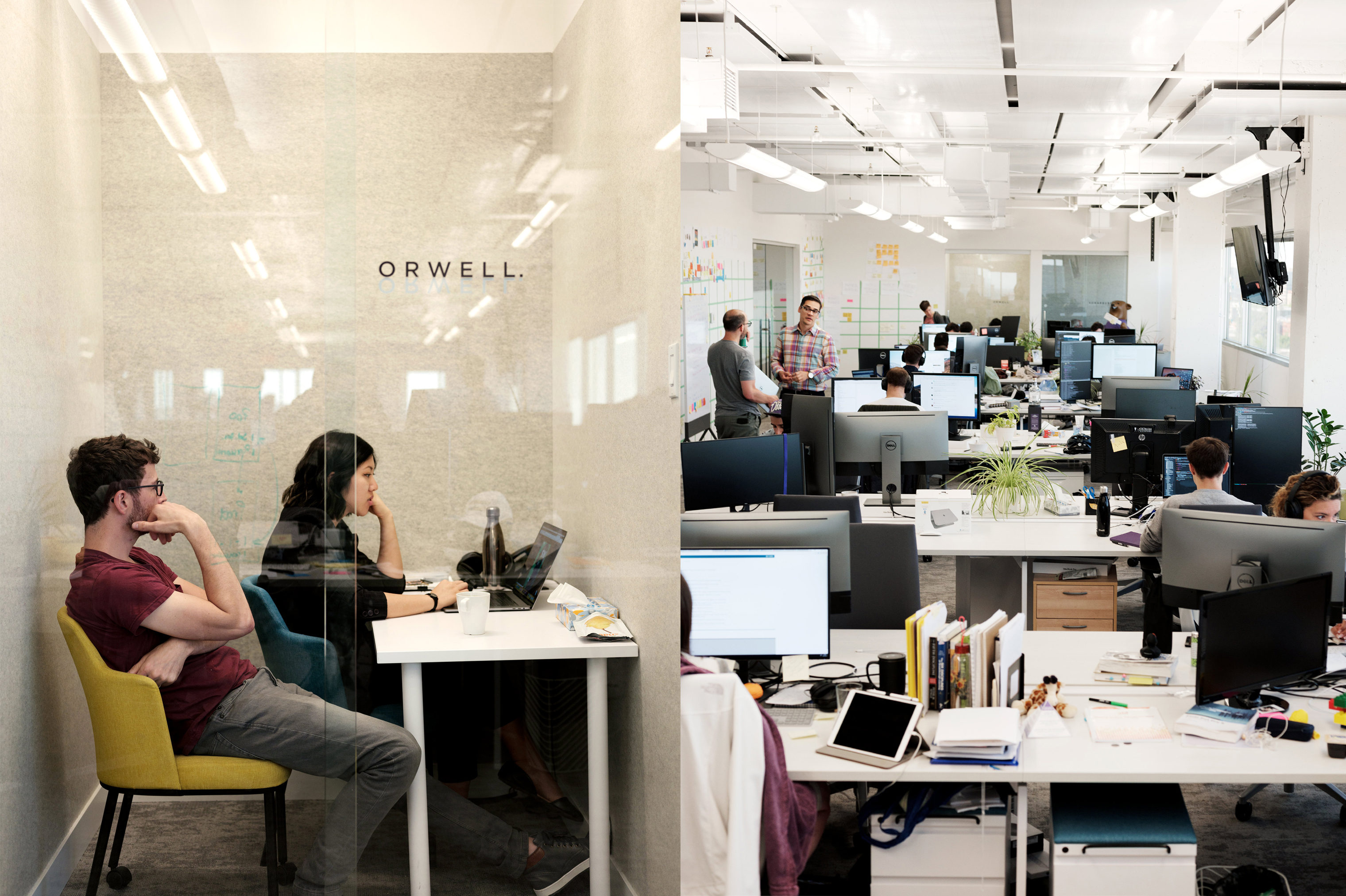 The Orwell focus room at Element AI's Montreal offices (left); staffers hard at work at headquarters.