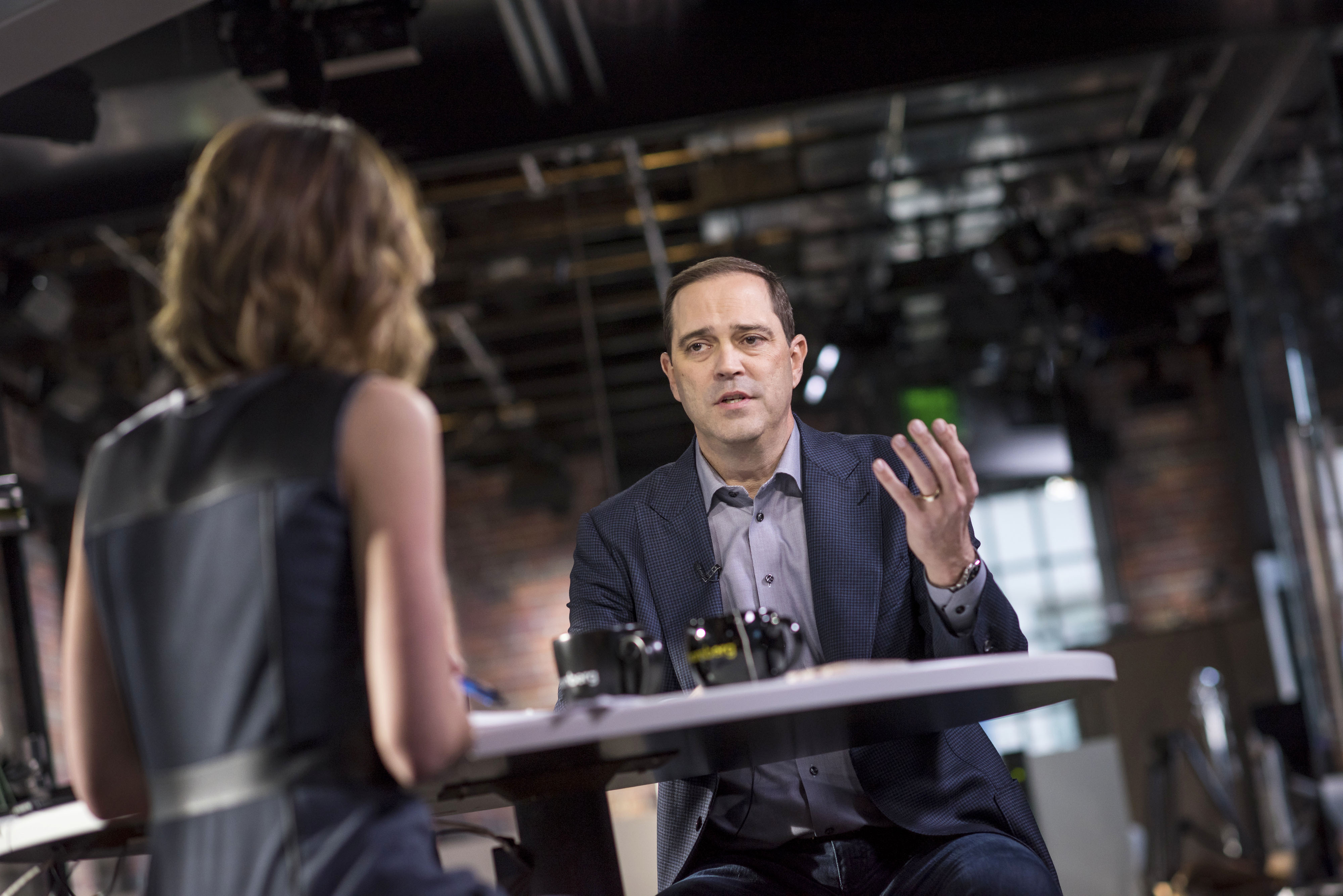 Cisco Technologies Inc Chief Executive Officer Chuck Robbins during a television interview
