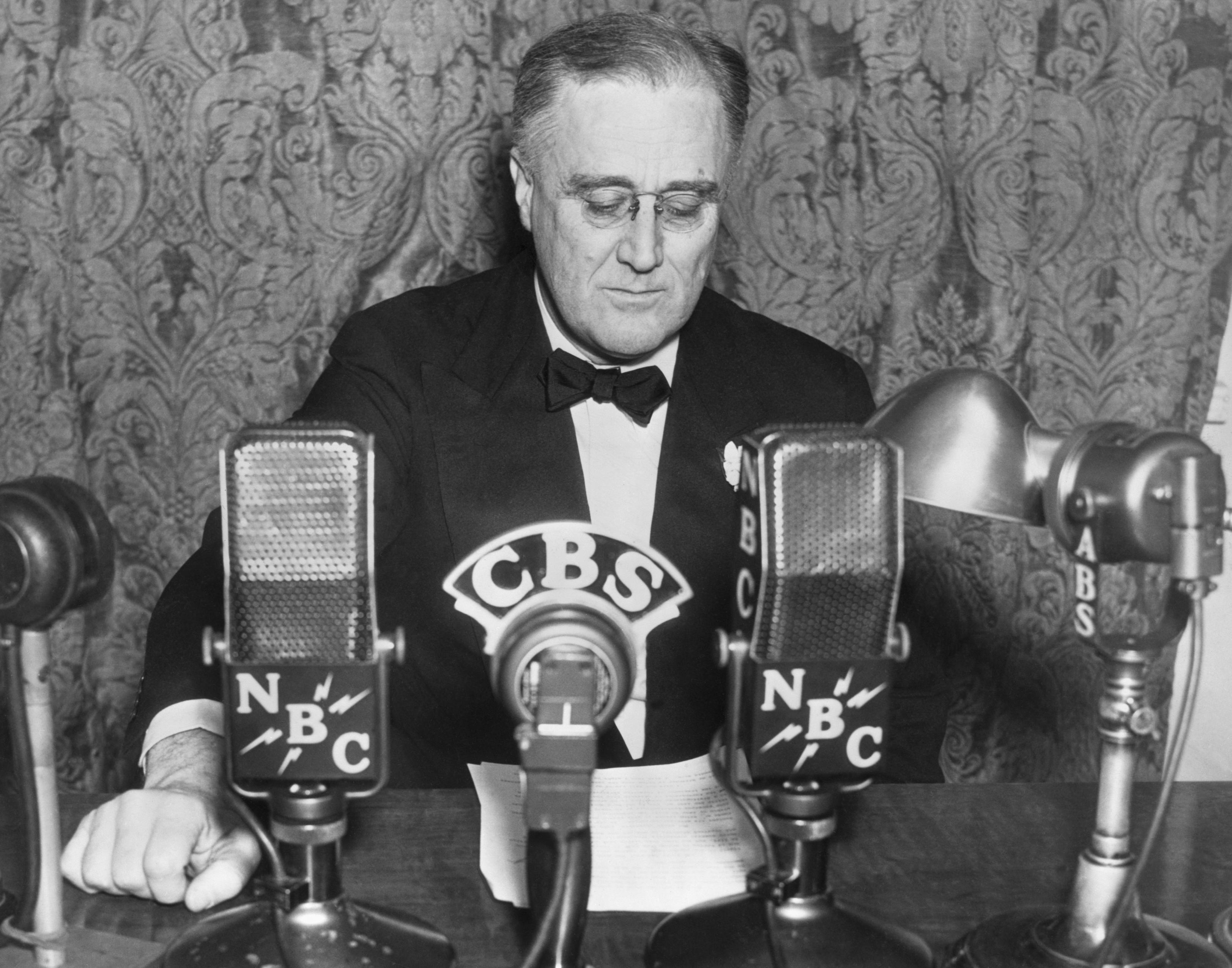 Franklin D. Roosevelt Giving Radio Address
