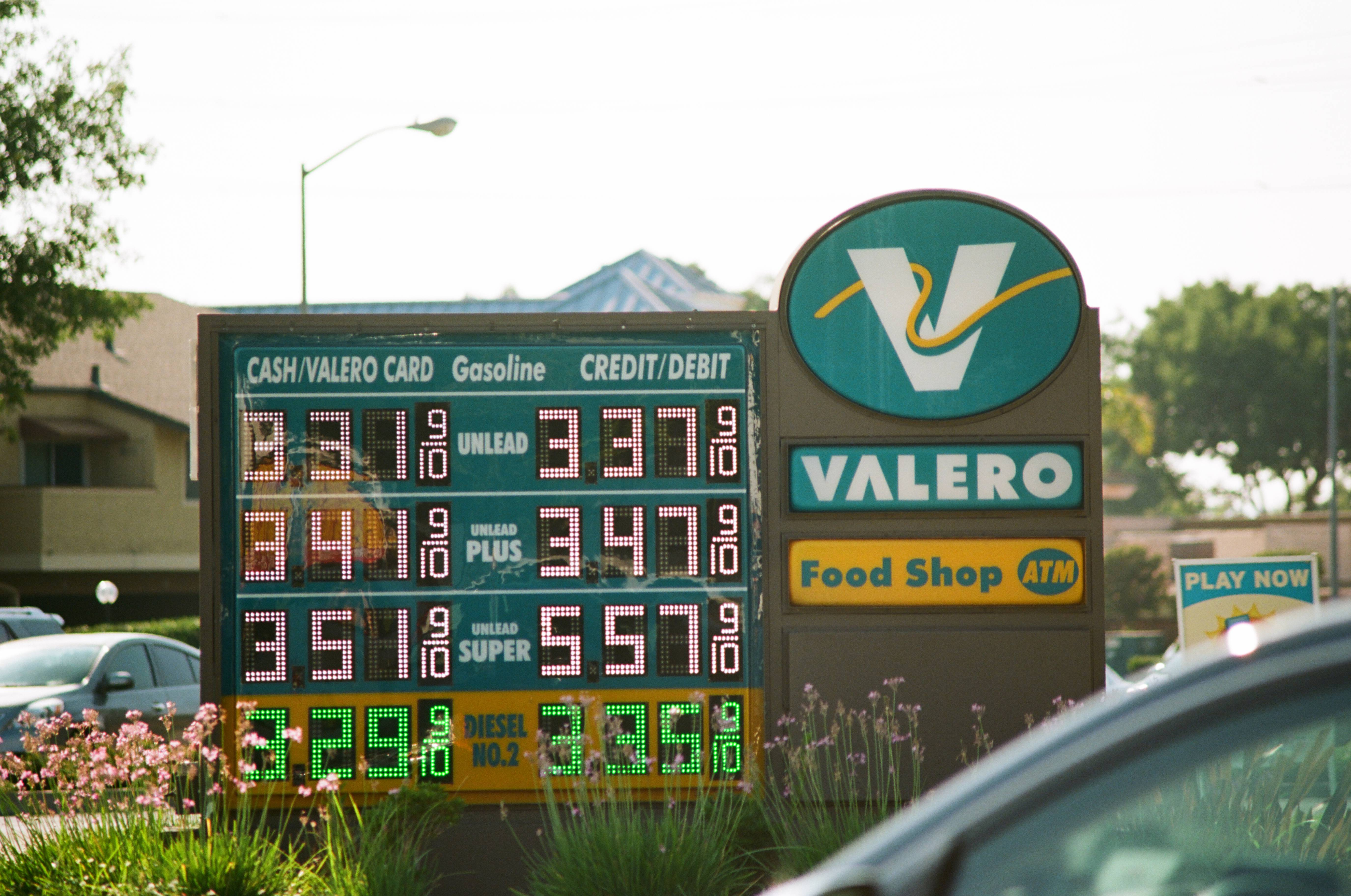 A gas station sign shows high gasoline prices in the San Francisco Bay Area.