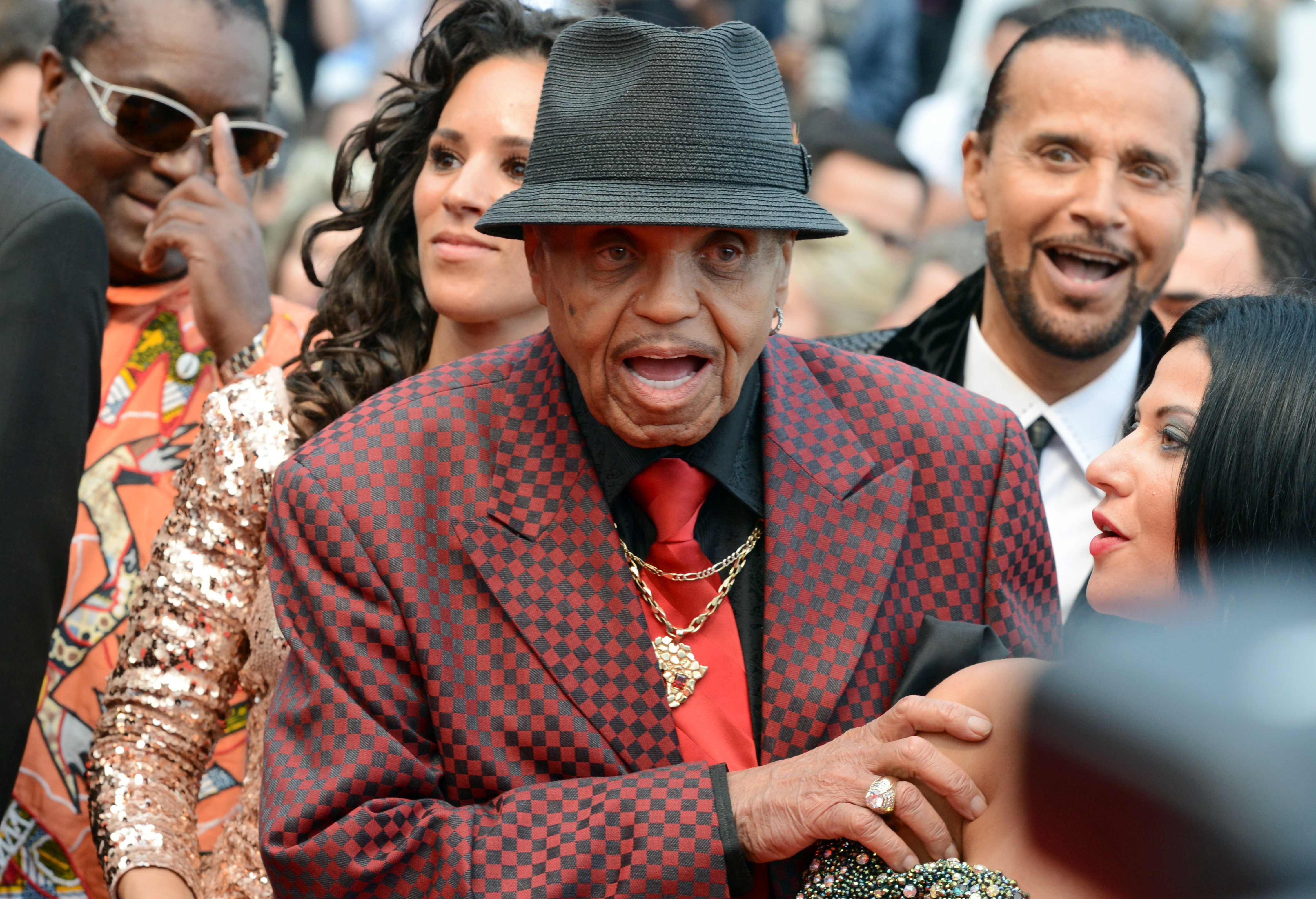 """Joe Jackson, Michael Jackson's father, and guests arrive for the screening of the film """"Sicario"""" in competition at the 68th Cannes Film Festival in Cannes"""
