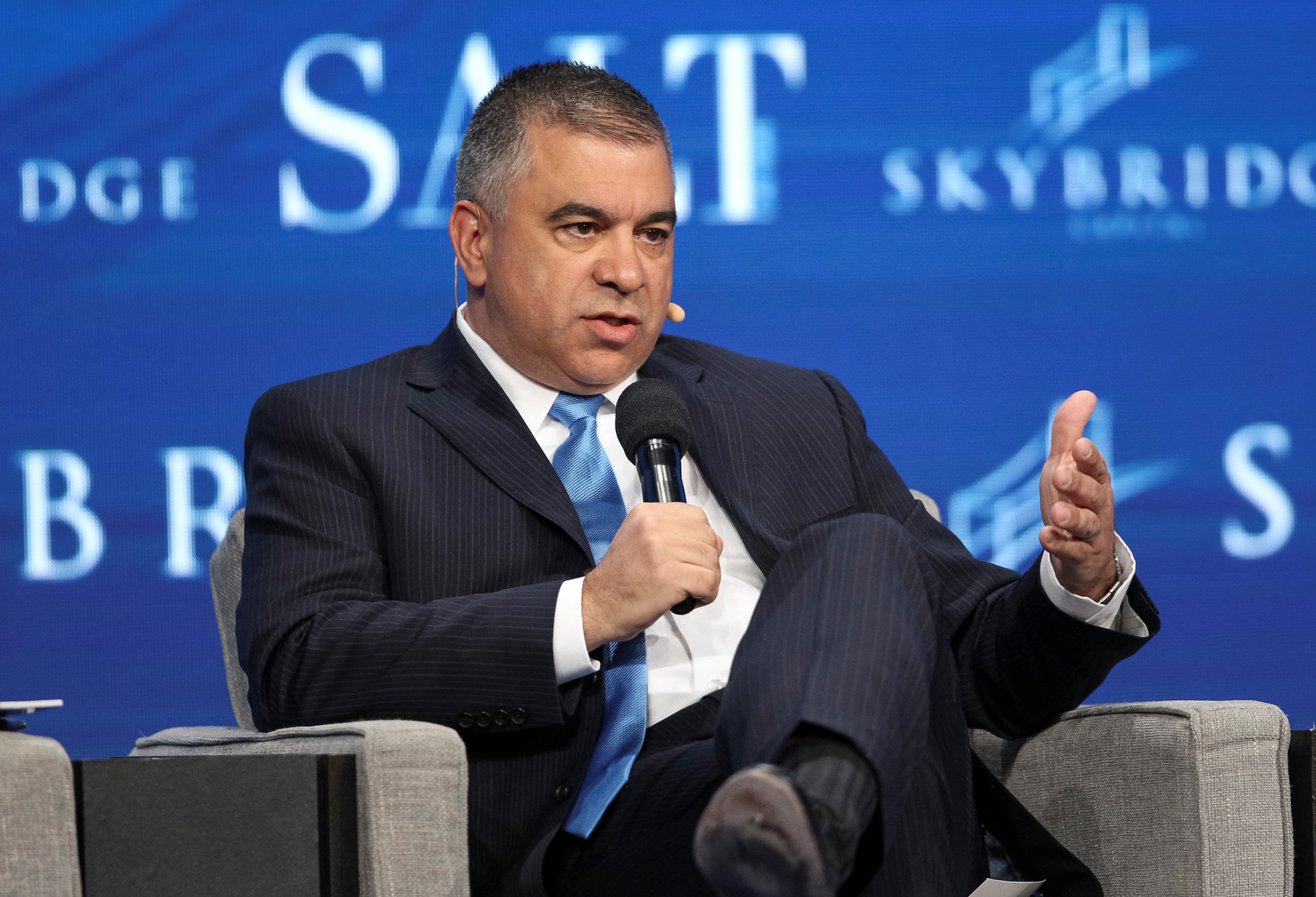 David Bossie, Donald Trump's deputy campaign manager and political activist, speaks during the SALT conference in Las Vegas