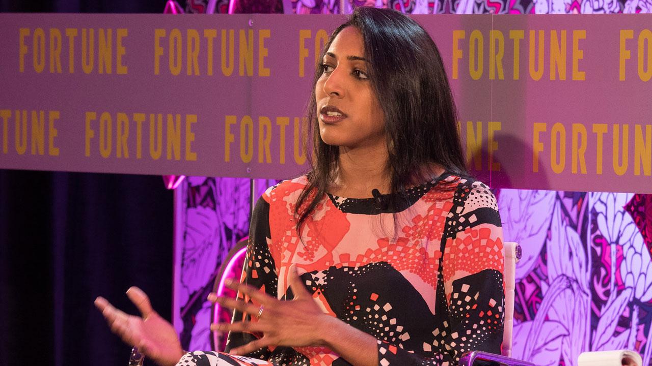 Vidhya Ramalingam, founder of Moonshot CVE, speaks at Fortune's Most Powerful Women International Summit in London, Tuesday, June 12.