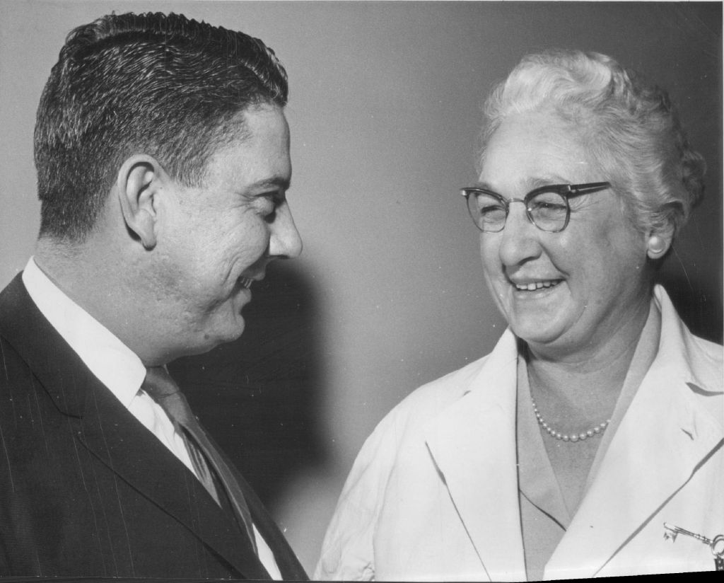 JAN 26 1962, 3-13-1962; L to R: James P. Eakins and Virginia Apgar;