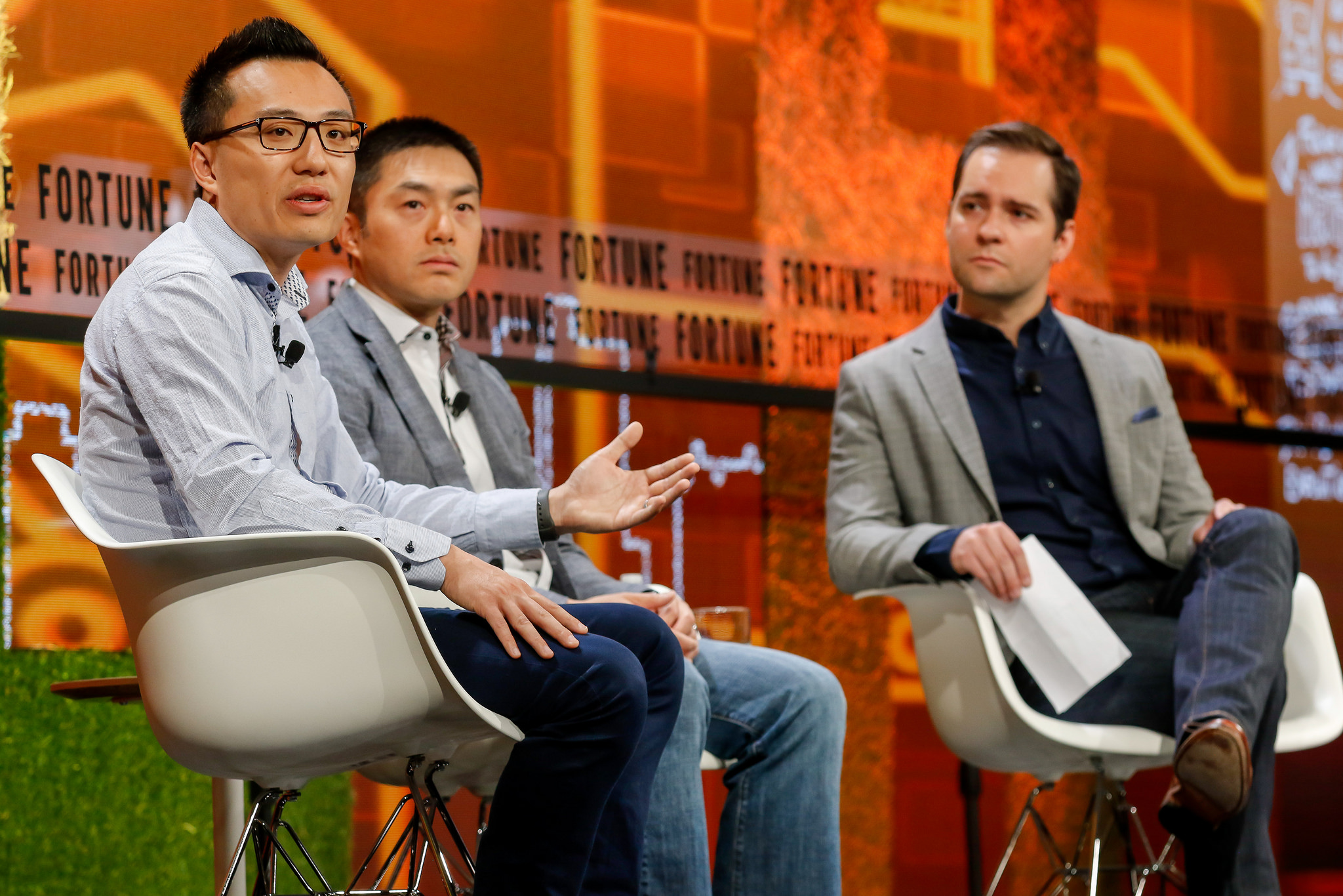 DoorDash CEO Tony Xu, Sequoia Capital's Alfred Lin, and Fortune's Andrew Nusca at Fortune Brainstorm Tech 2018 in Aspen, Colo.