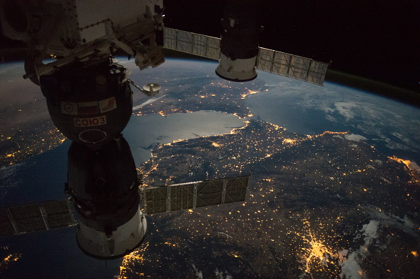 ISS view of the Strait of Gibraltar with a Russian Soyuz spacecraft and Progress spacecraft.