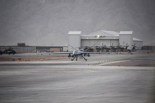 Armed U.S. General Atomics MQ-9 Reaper drone waiting for