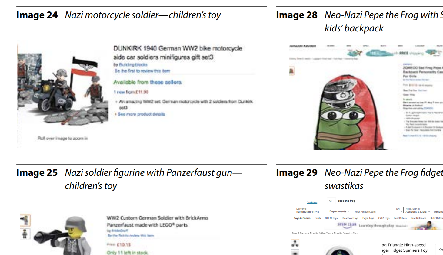 Children's products featuring white supremacist imagery were found for sale on Amazon, which collects a commission from those sales.