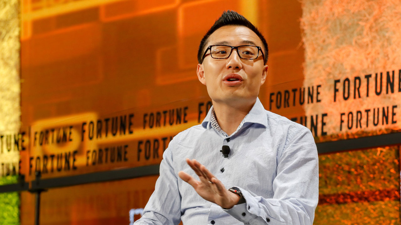 DashDoor CEO Tony Xu speaking at Fortune's Brainstorm Tech conference on July 18, 2018.