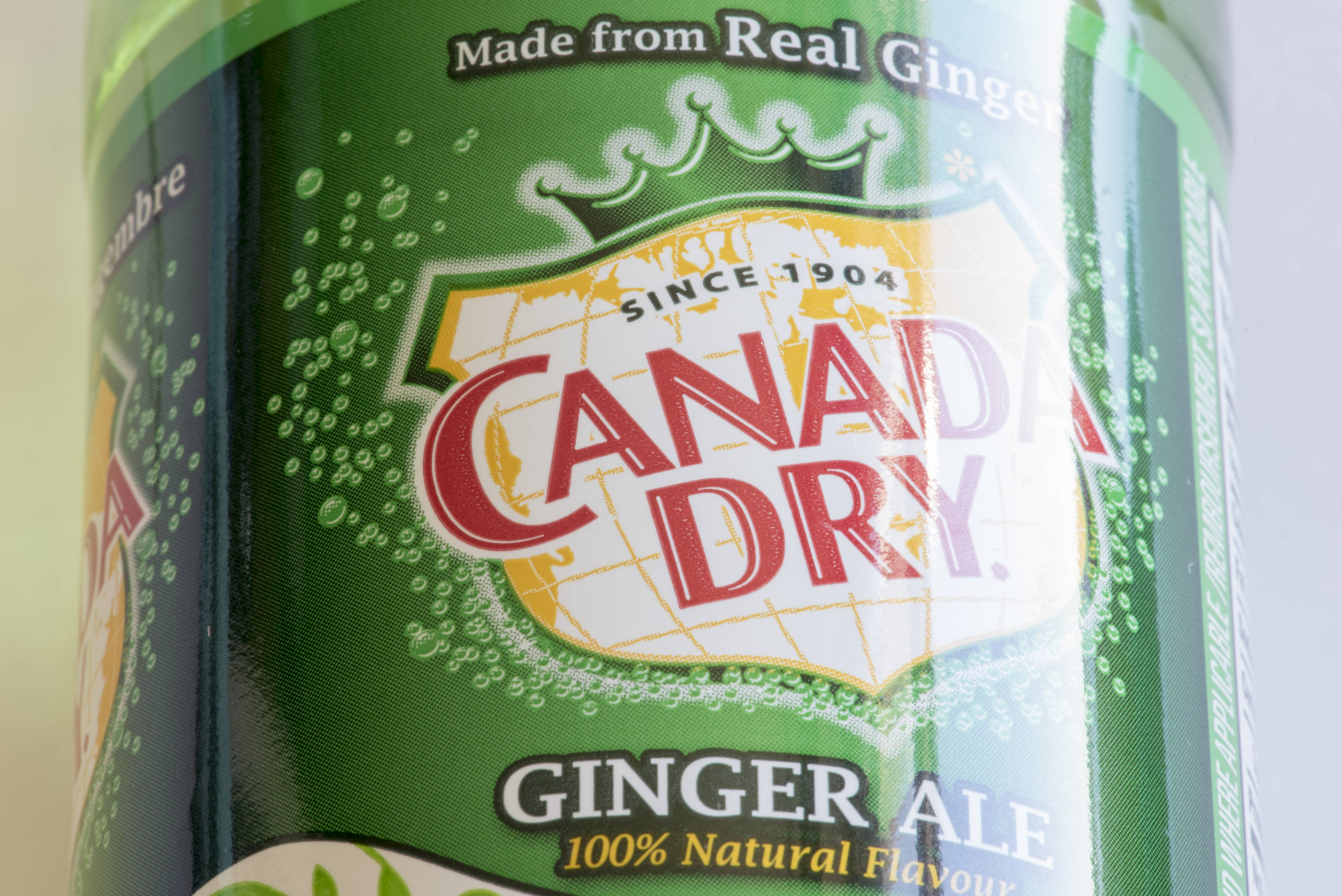Canada Dry Ginger Ale can close-up. Canada Dry is a brand of