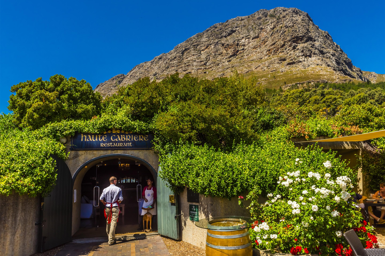 Terrace of restaurant at Haute Cabriere Vineyard Estate, Franschhoek Pass, Franschhoek, Cape Winelands